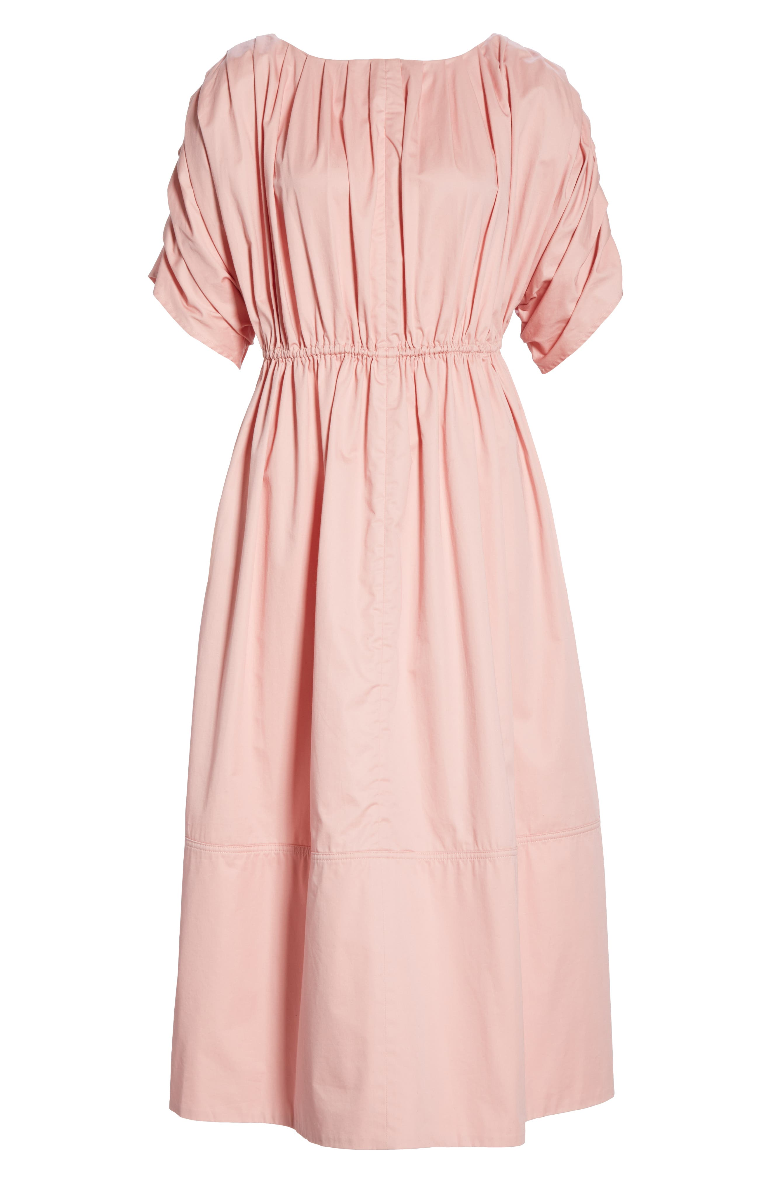 Pleated Cotton Midi Dress,                             Alternate thumbnail 7, color,                             PINK