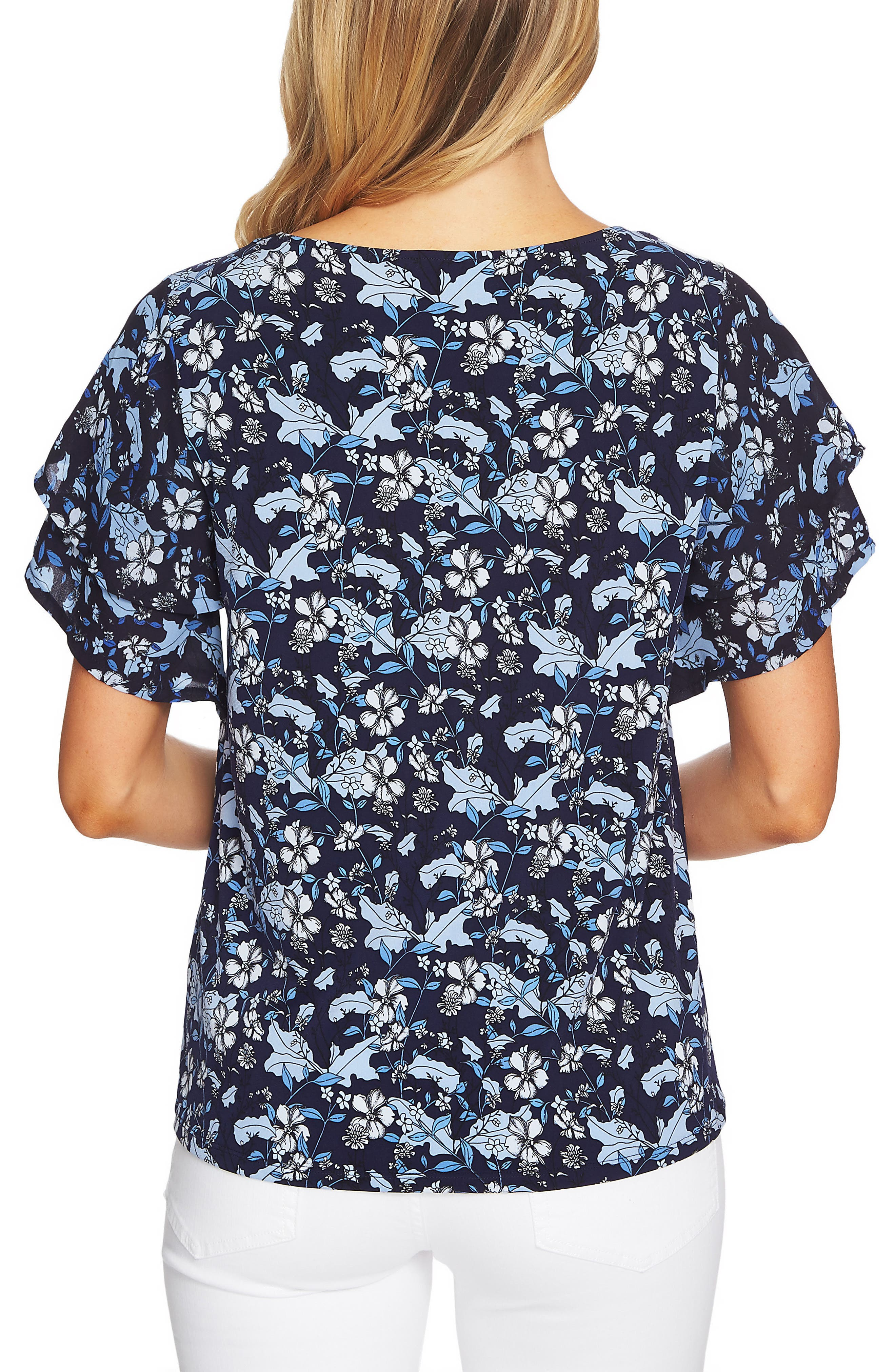 CECE,                             Tiered Sleeve Floral Top,                             Alternate thumbnail 2, color,                             430