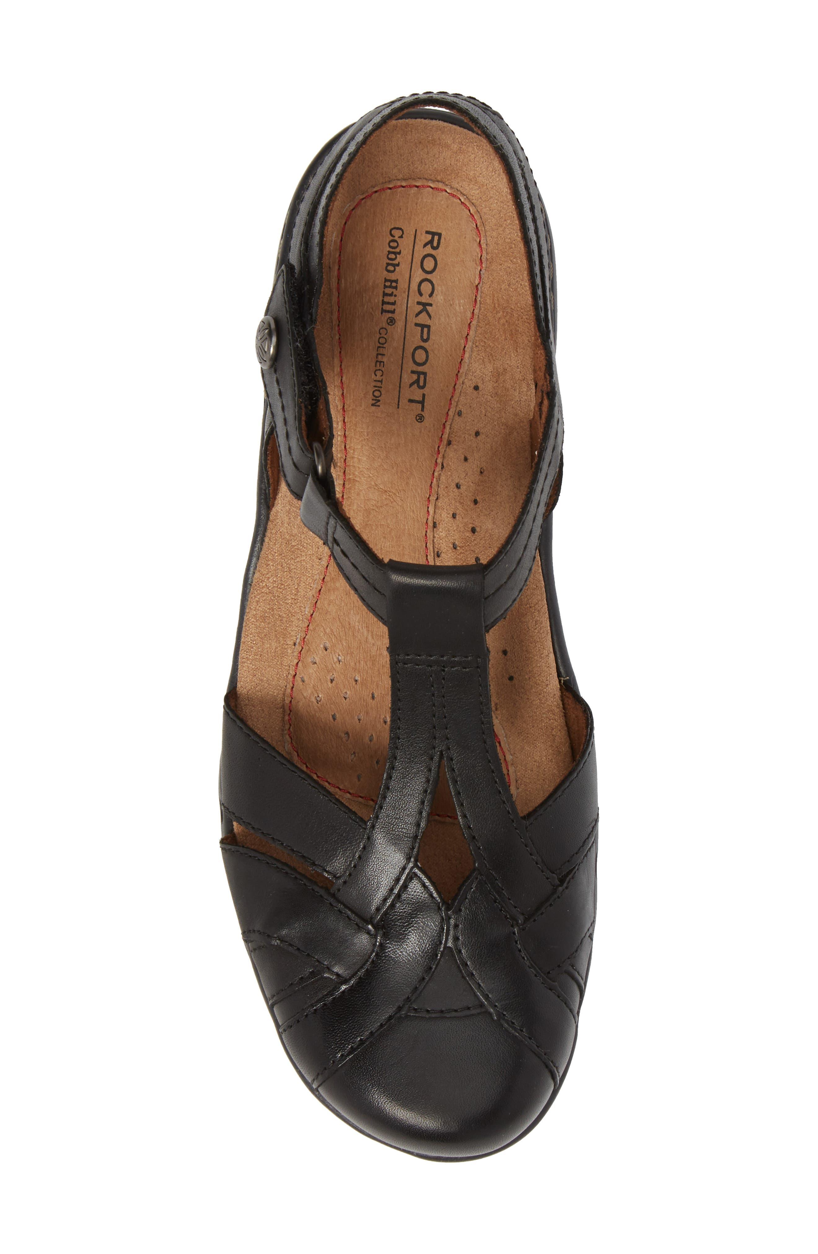 Penefield T-Strap Sandal,                             Alternate thumbnail 5, color,                             BLACK LEATHER