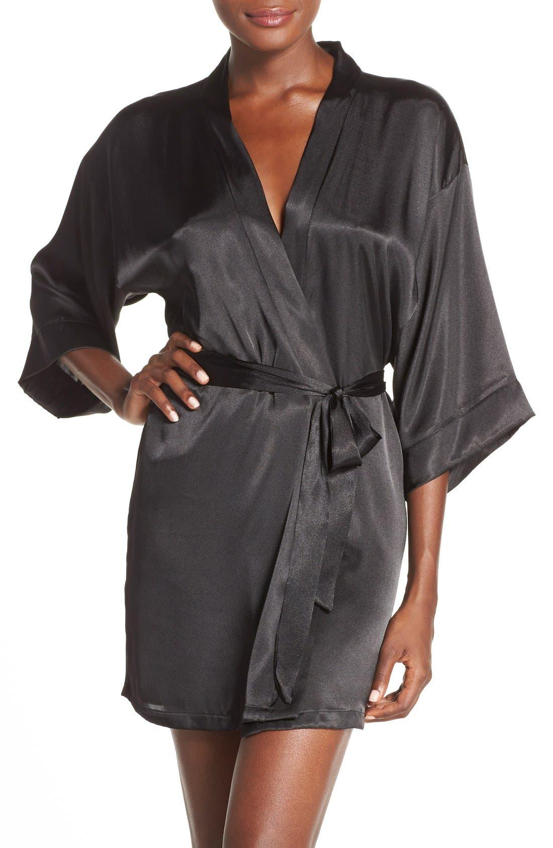 Satin Robe,                         Main,                         color, BLACK