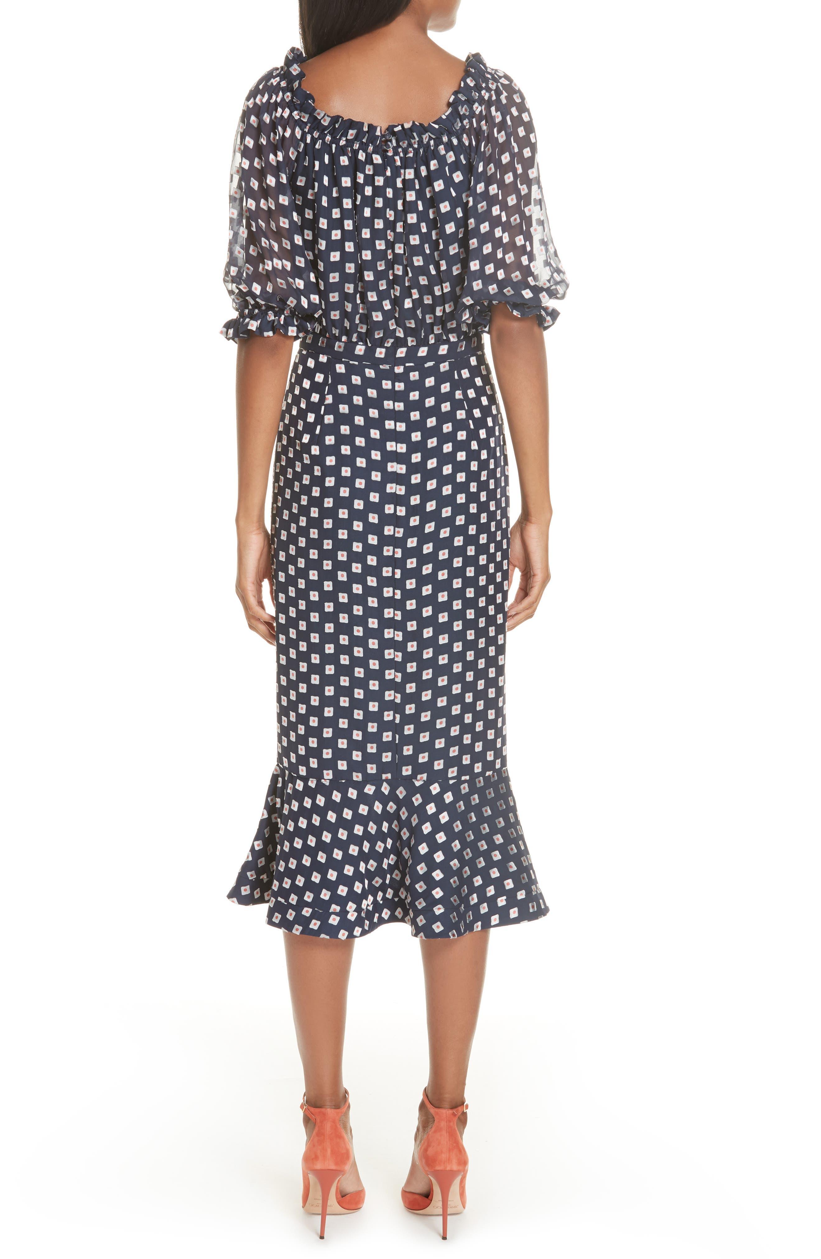 Olivia Silk Blend Midi Dress,                             Alternate thumbnail 2, color,                             410