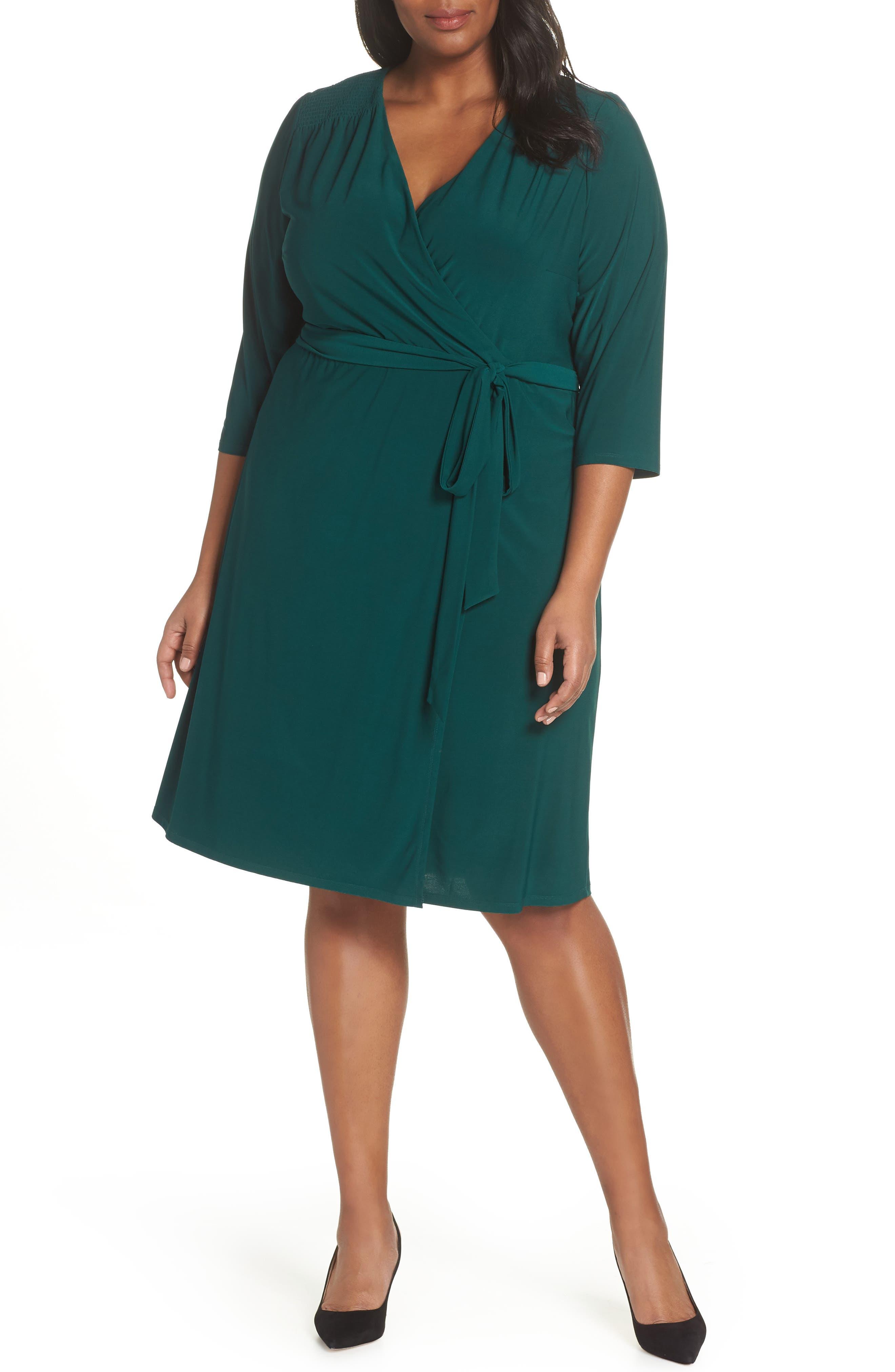 Plus Size Eliza J Smocked Shoulder Wrap Dress, Green