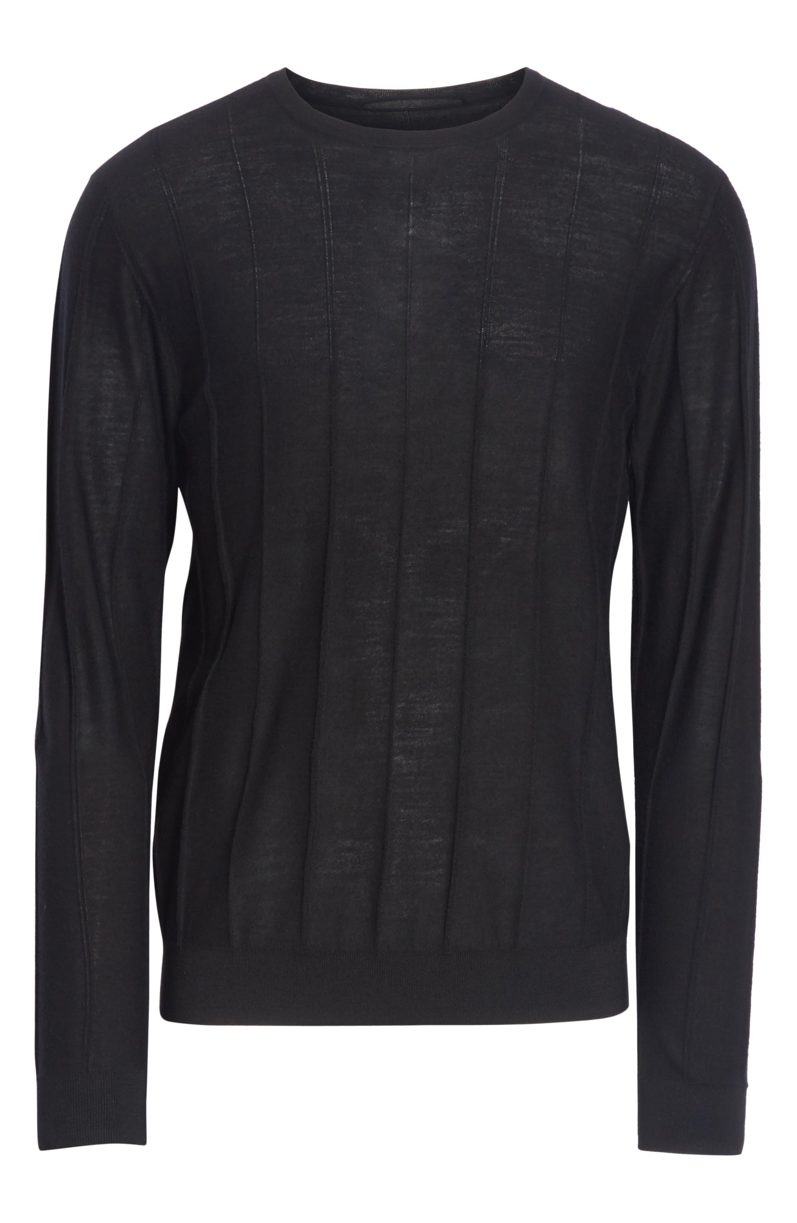 Crewneck Wool Sweater,                             Alternate thumbnail 6, color,                             BLACK