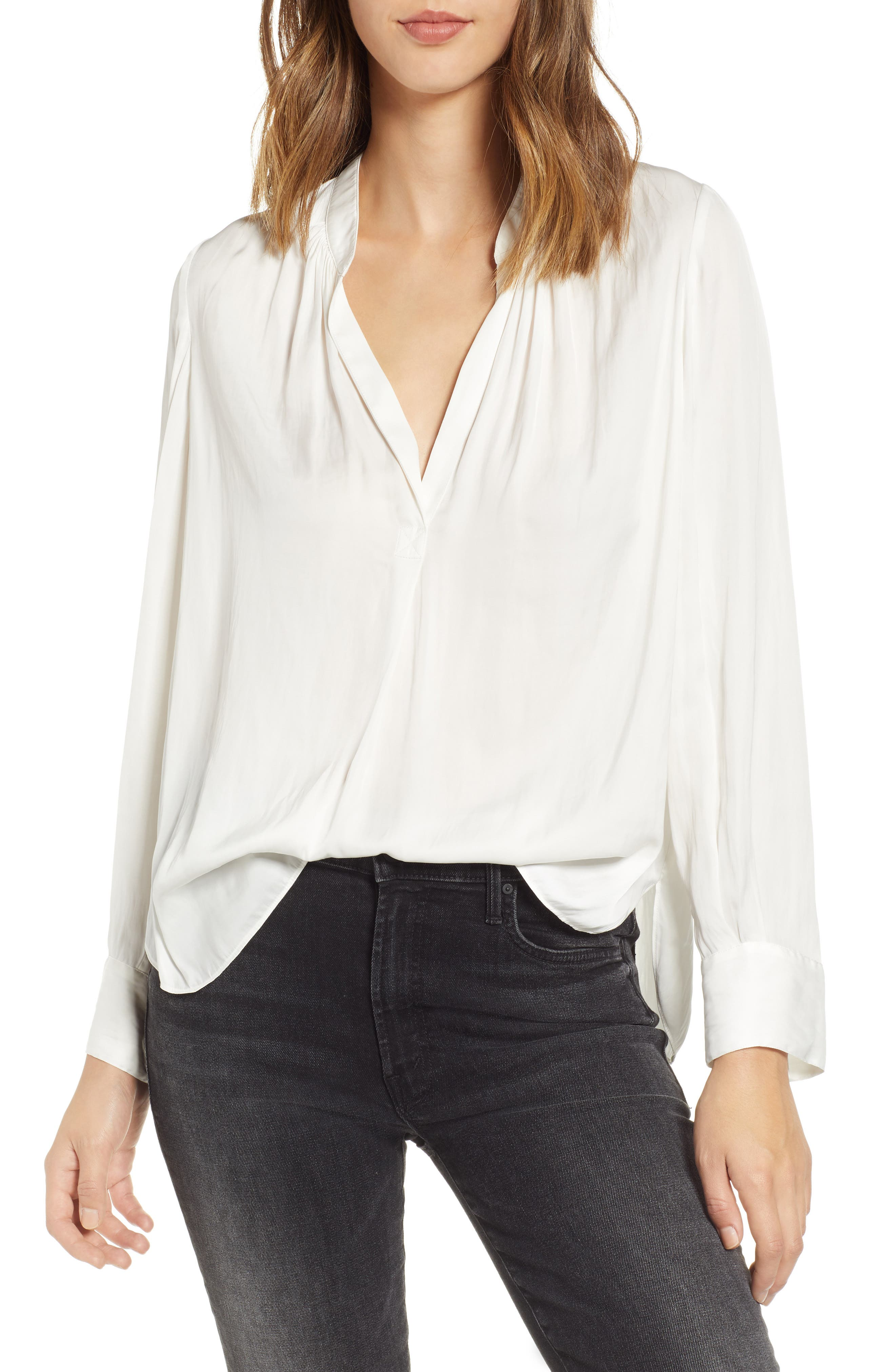 ZADIG & VOLTAIRE Tink V-Neck Satin Long-Sleeve Blouse in Blanc