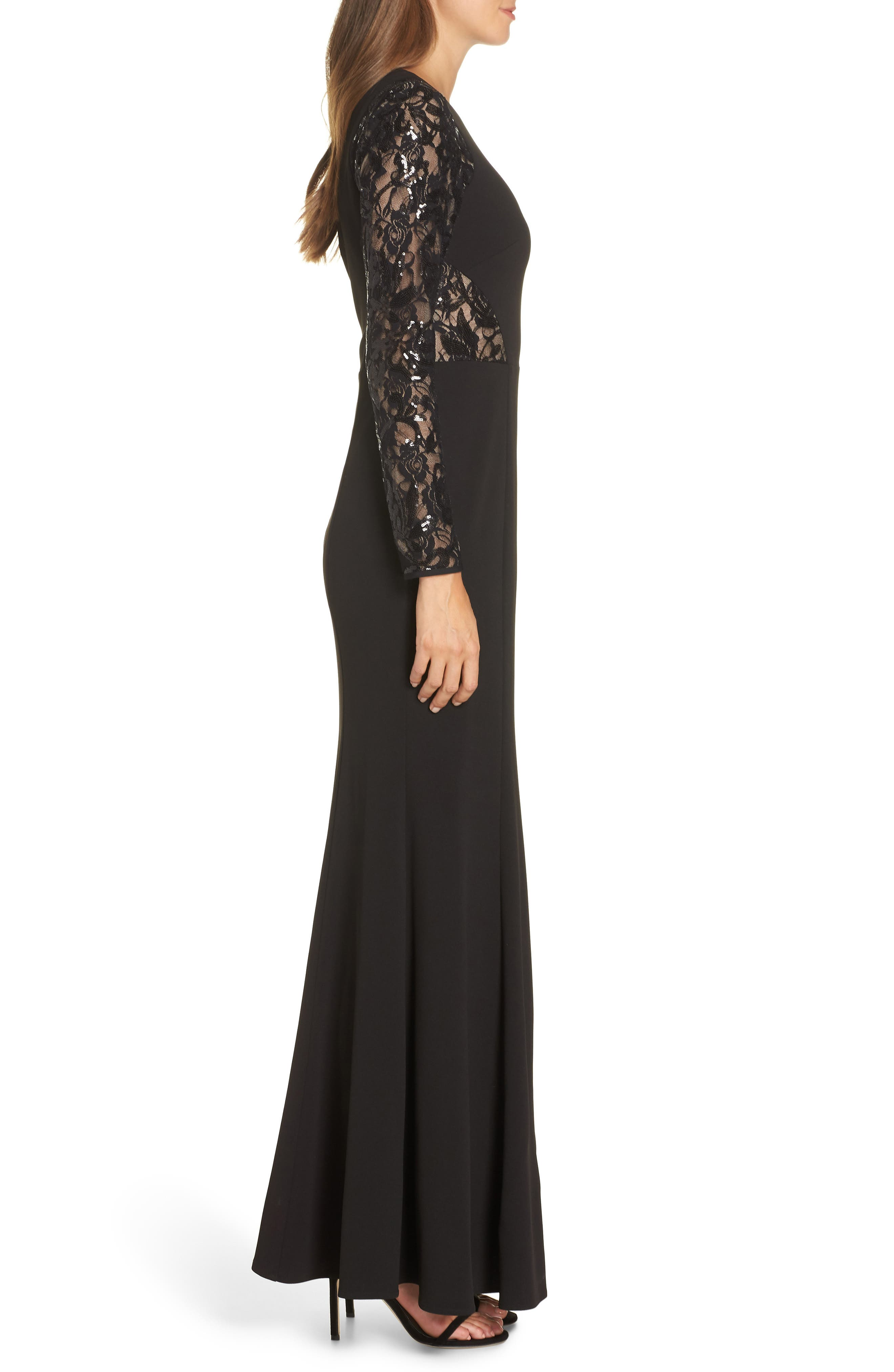 Embellished Lace Gown,                             Alternate thumbnail 3, color,                             BLACK