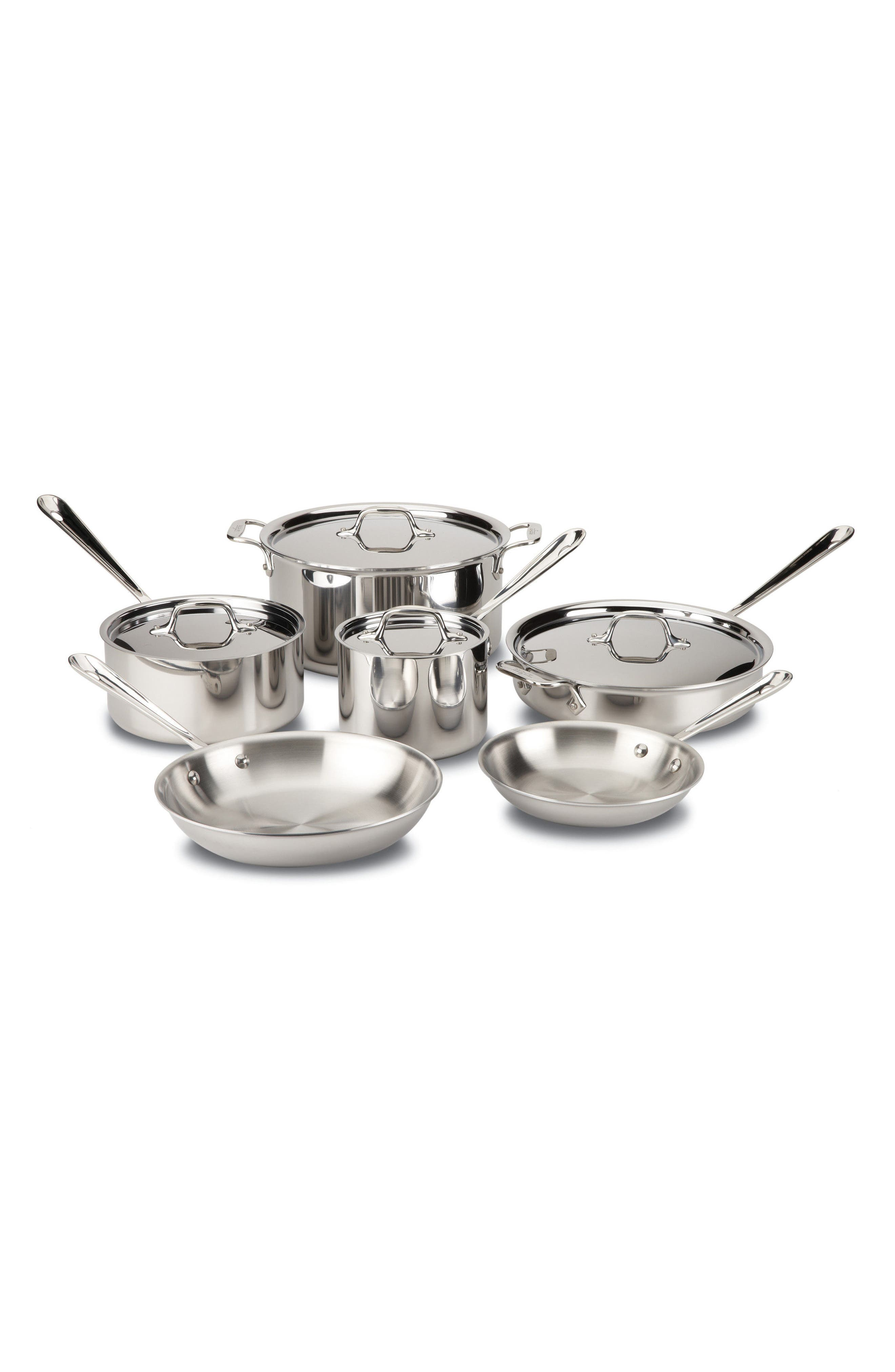 10-Piece Stainless Steel Cookware Set,                             Main thumbnail 1, color,                             STAINLESS