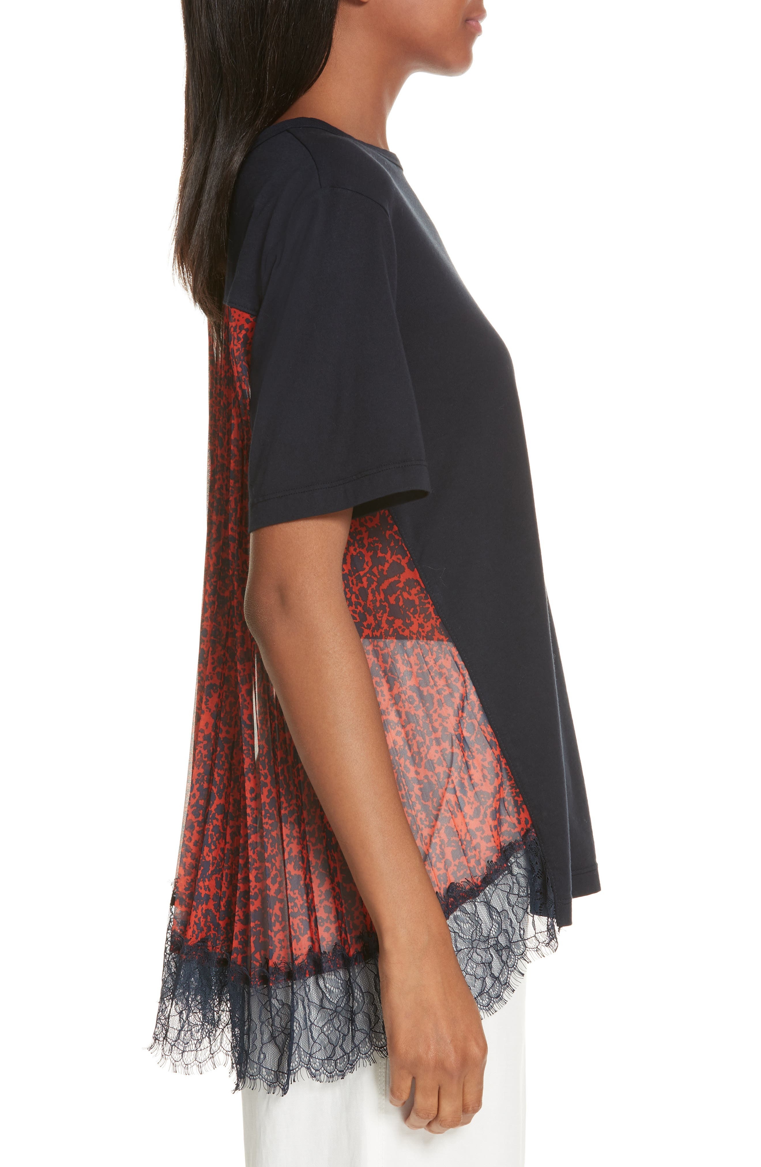 Mix Media Pleat Lace Detail Tee,                             Alternate thumbnail 3, color,                             NAVY
