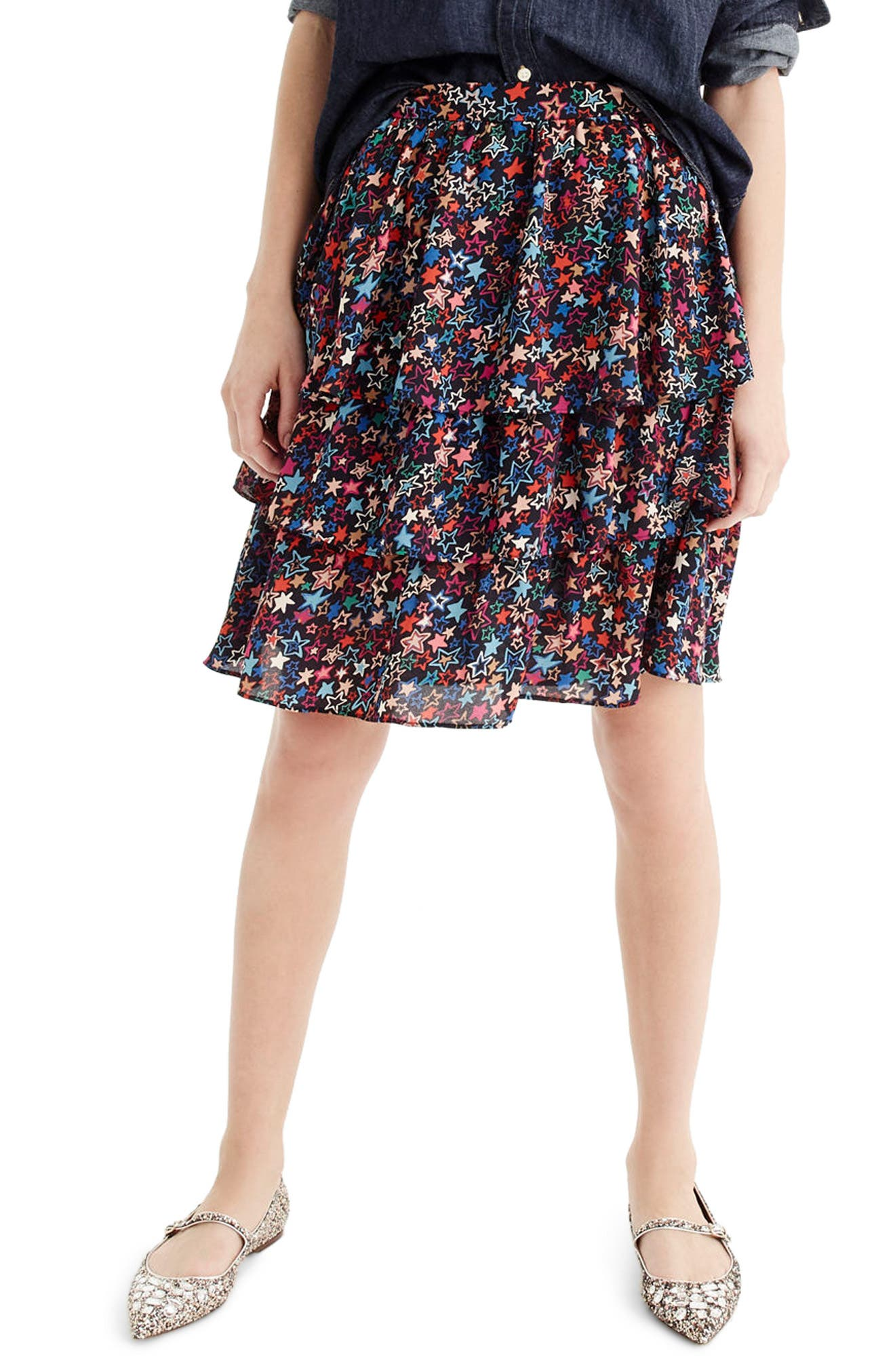 J.CREW Star Print Tiered Skirt, Main, color, 409