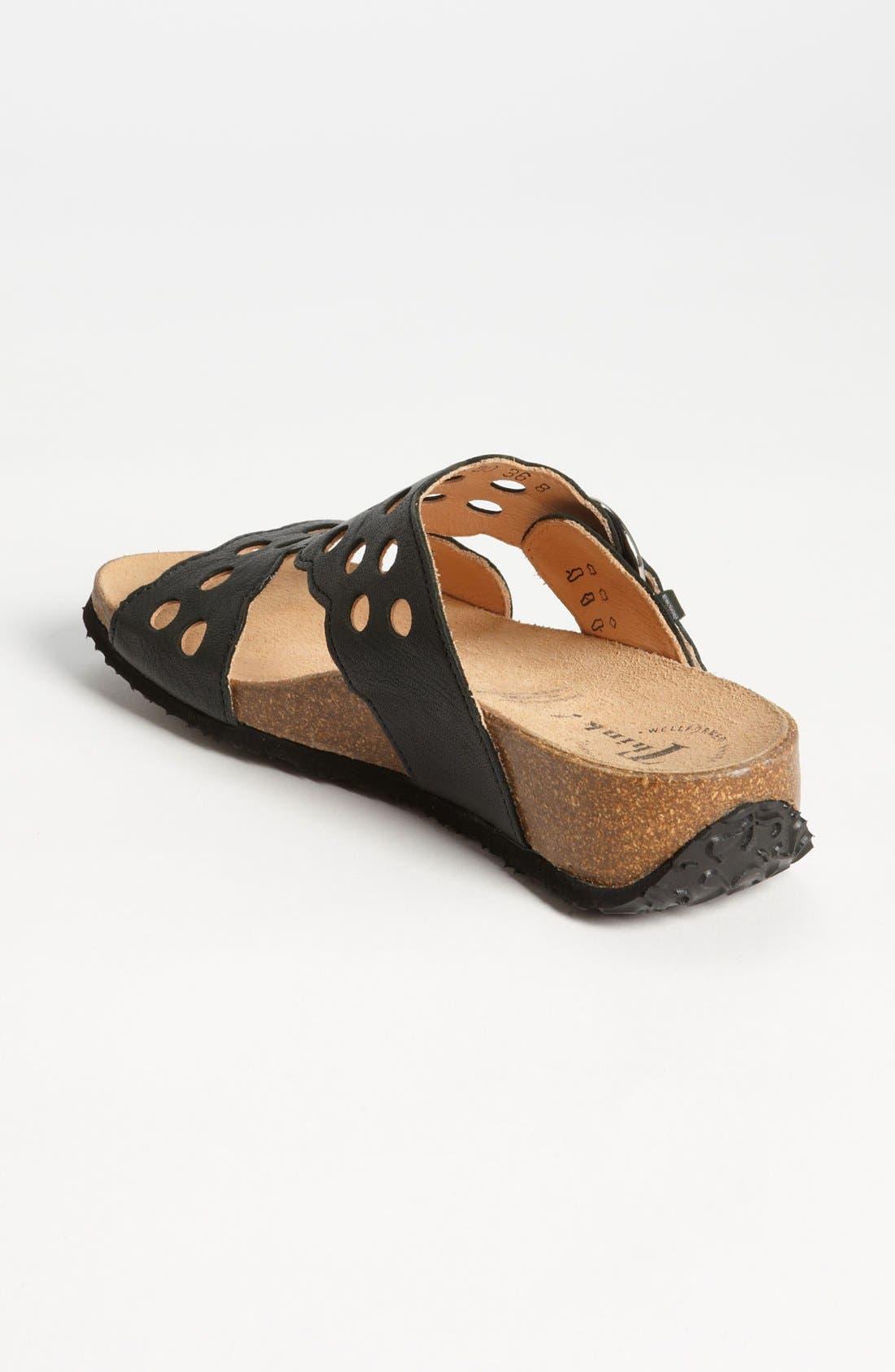 'Mizzi' T-Strap Sandal,                             Alternate thumbnail 2, color,                             BLACK LEATHER