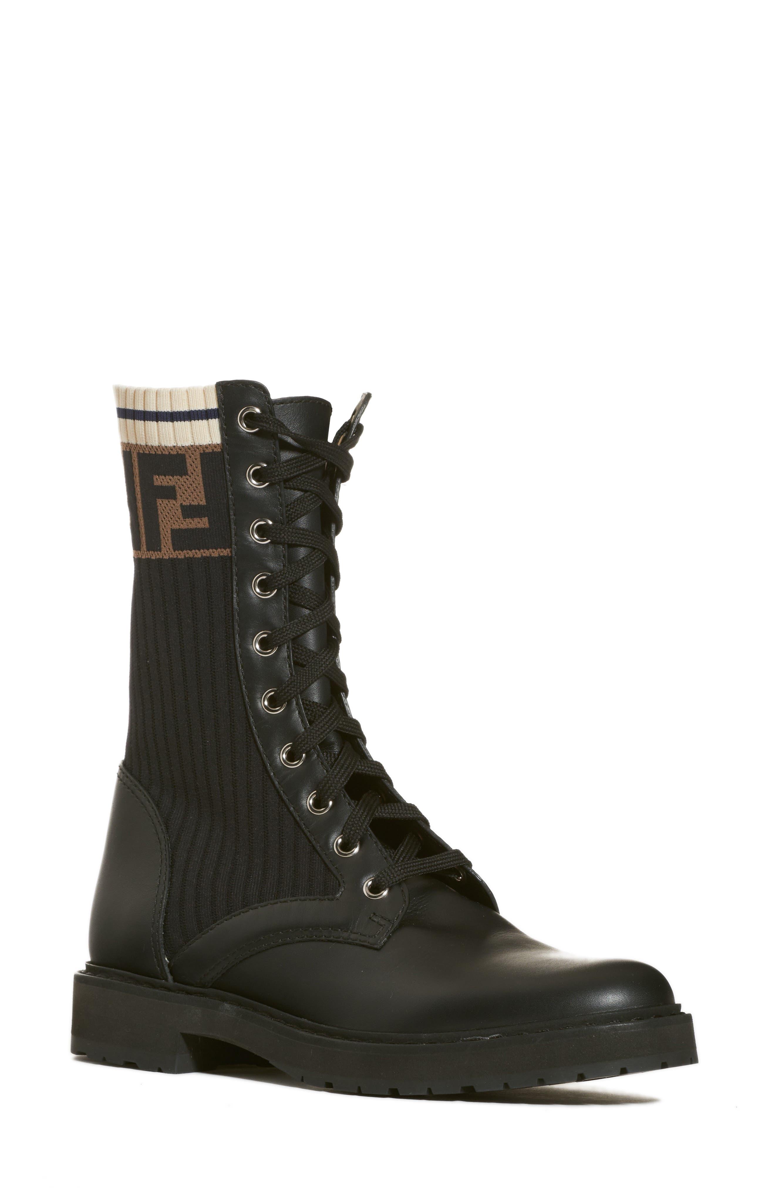 FENDI Rockoko Chelsea Sock Combat Boot, Main, color, 004