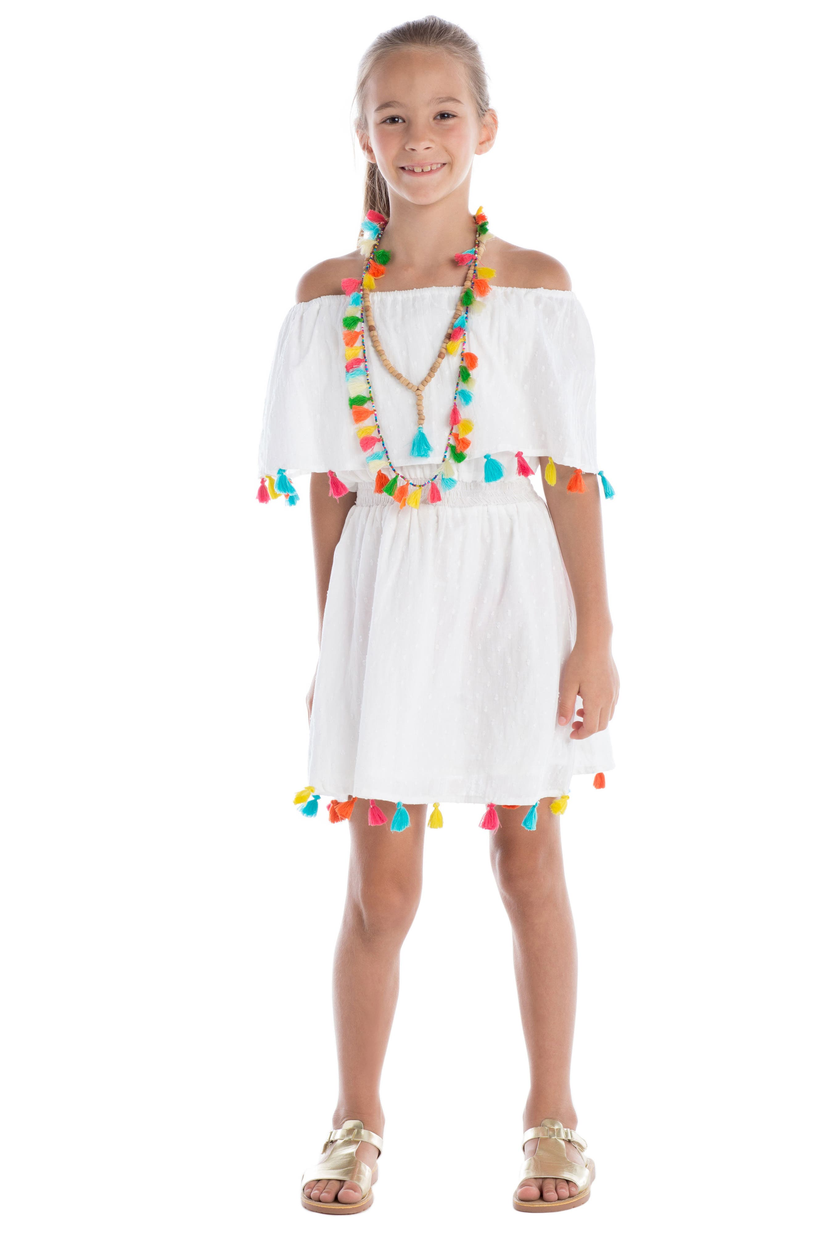 Fun Fair Tassel Dress,                             Alternate thumbnail 4, color,                             100