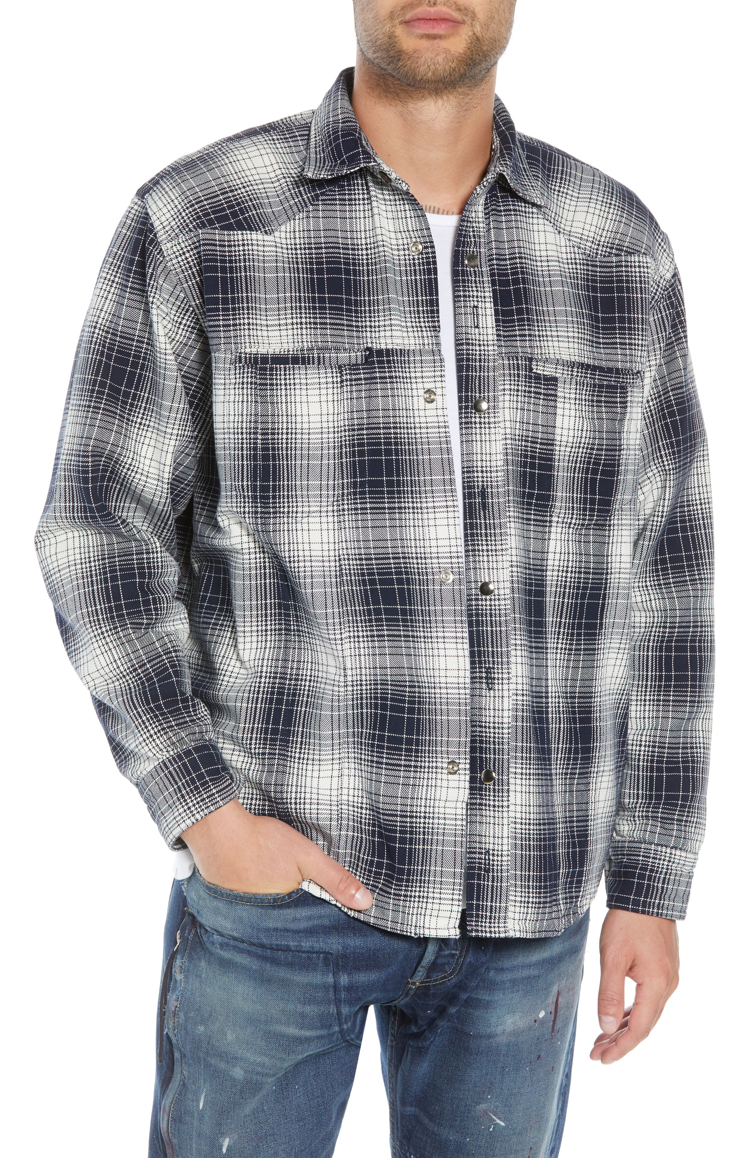 Western Flannel Slim Shirt,                             Main thumbnail 1, color,                             BLACK SHADOW