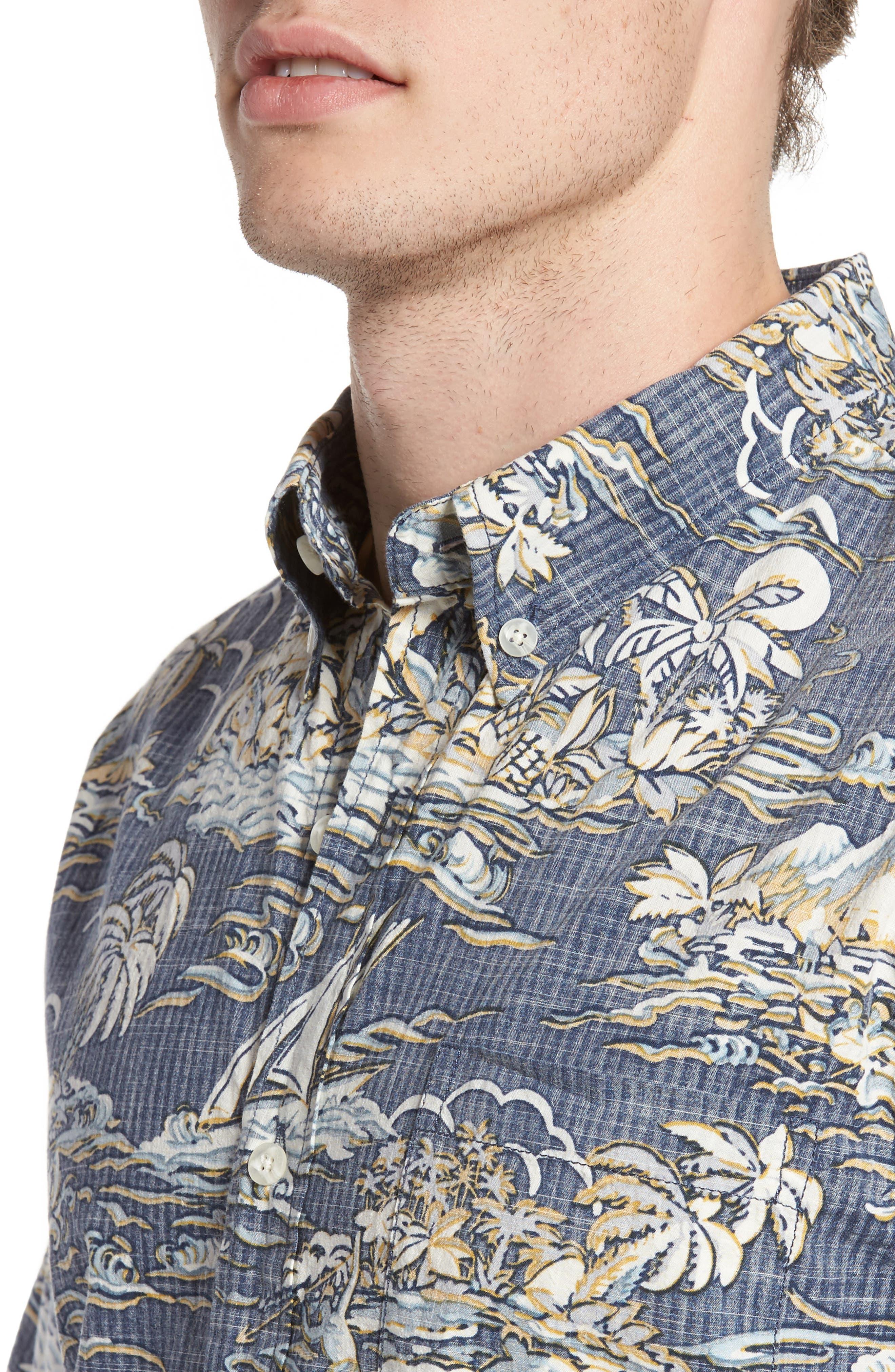 Laupakahi Modern Fit Print Shirt,                             Alternate thumbnail 4, color,                             410