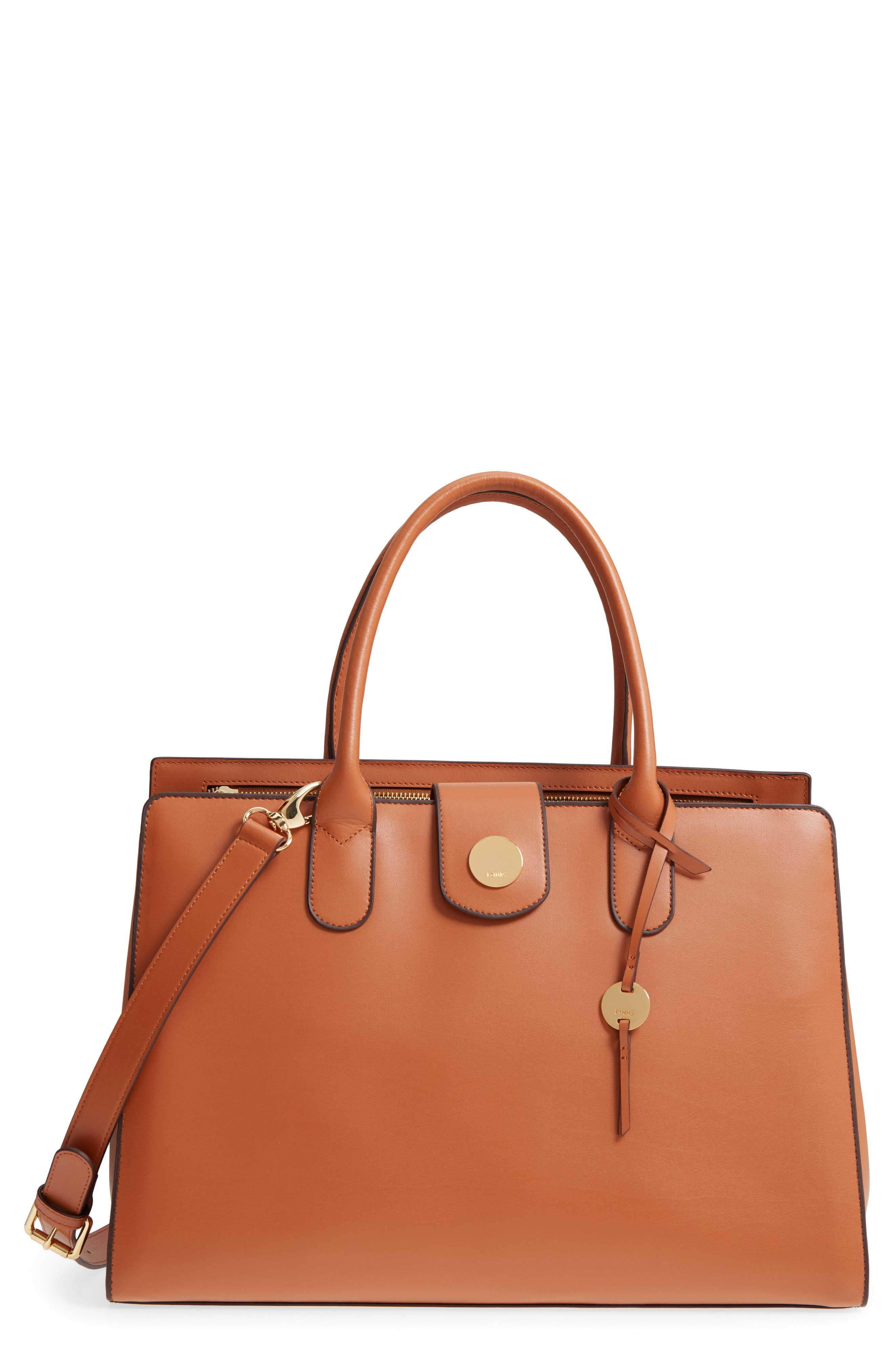 Rodeo Under Lock & Key – Gwyneth RFID Leather Tote,                             Main thumbnail 1, color,                             TOFFEE