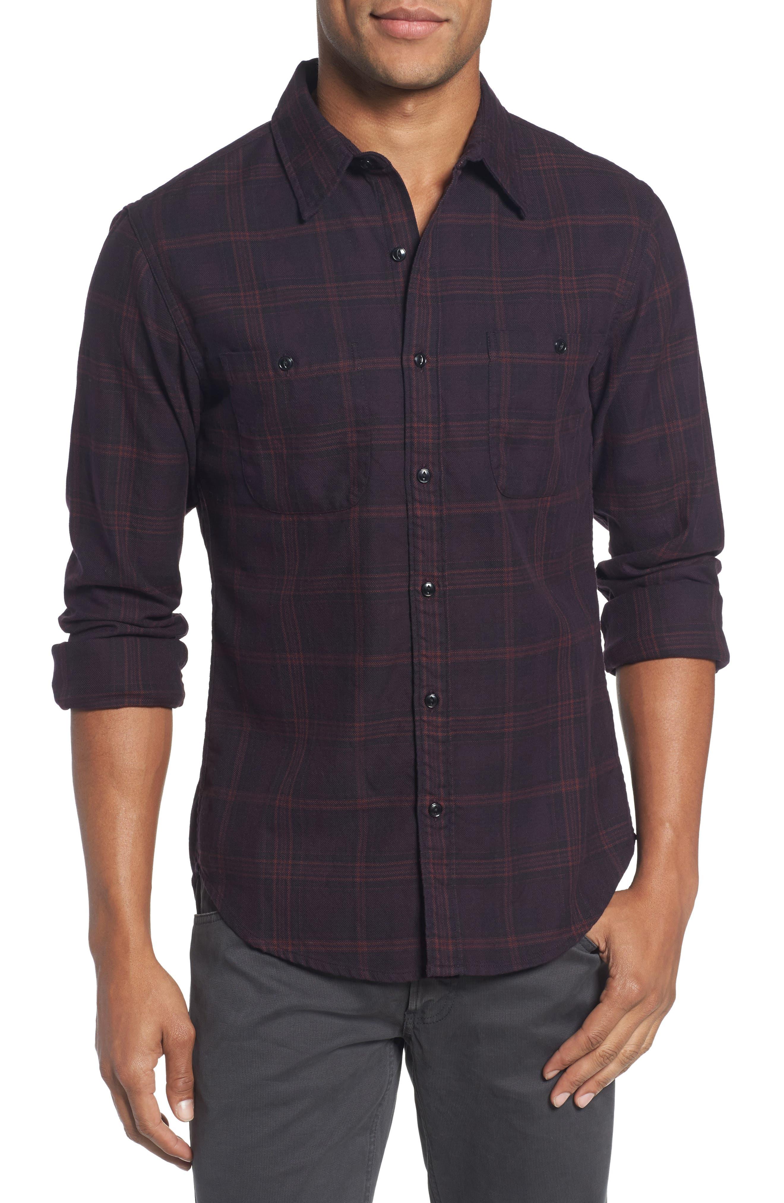 Slim Fit Check Flannel Sport Shirt,                         Main,                         color, 600