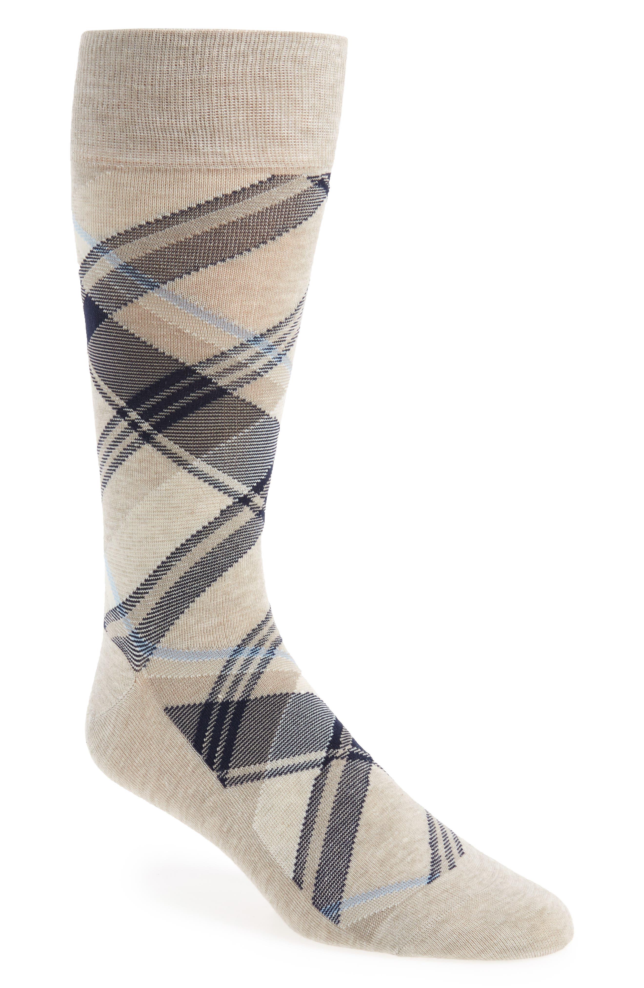 Plaid Socks,                         Main,                         color, OATMEAL HEATHER
