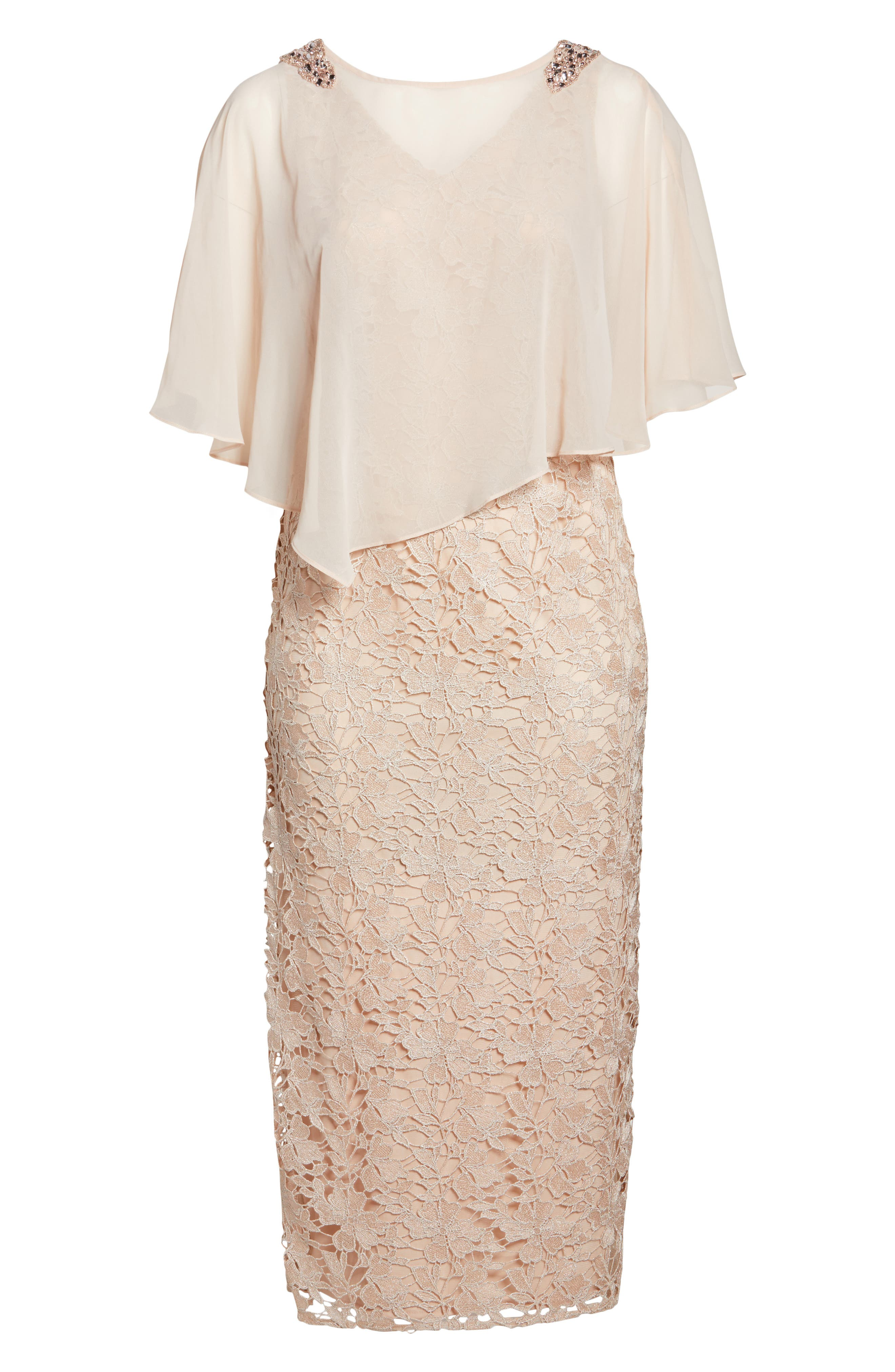 Poncho Over Floral Lace Dress,                             Alternate thumbnail 6, color,                             682
