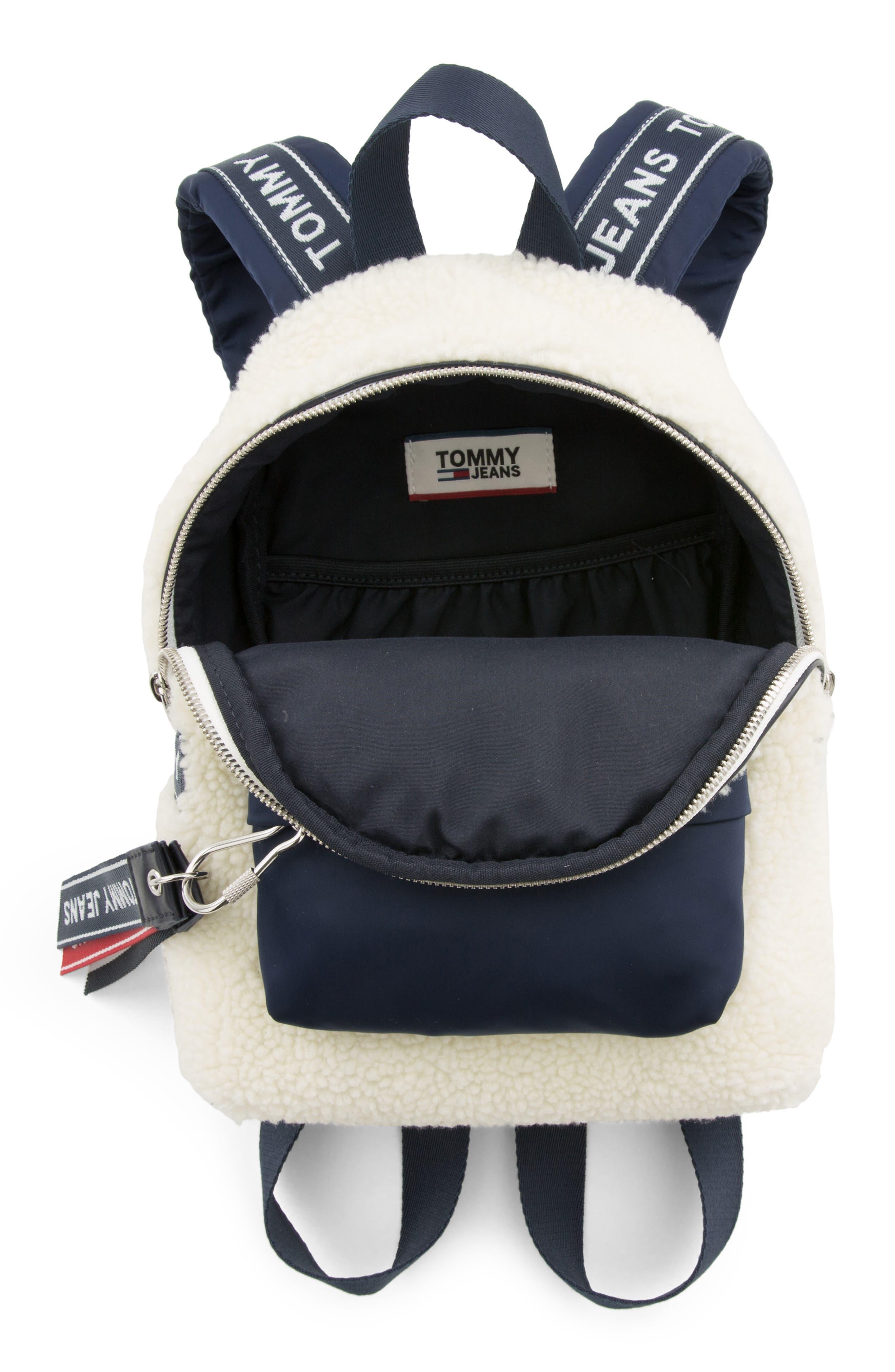 Logo Strap Fleece Mini Backpack,                             Alternate thumbnail 4, color,                             PUMICE STONE