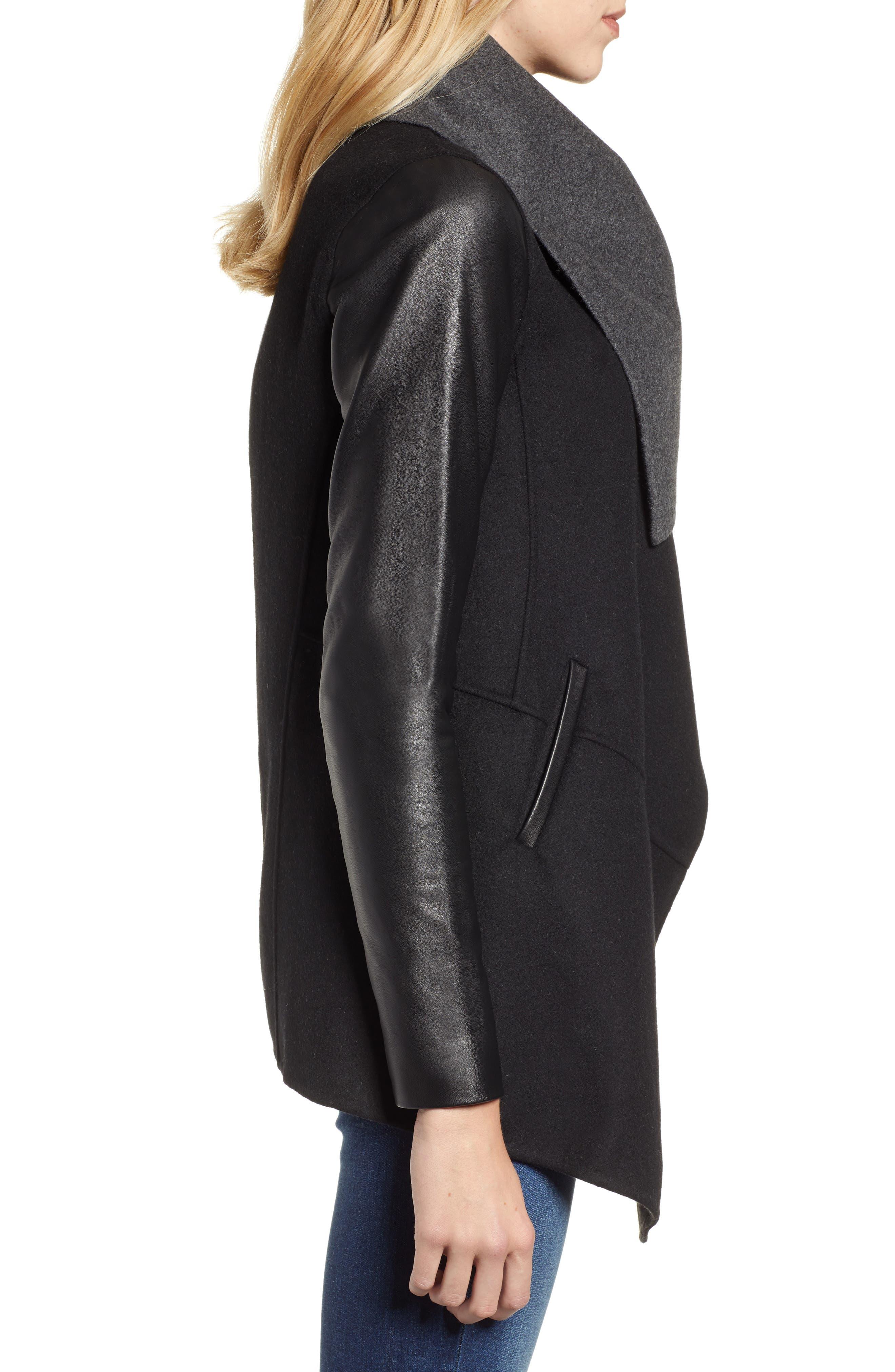 Vane Asymmetrical Leather Sleeve Coat,                             Alternate thumbnail 3, color,                             BLACK/ CHARCOAL