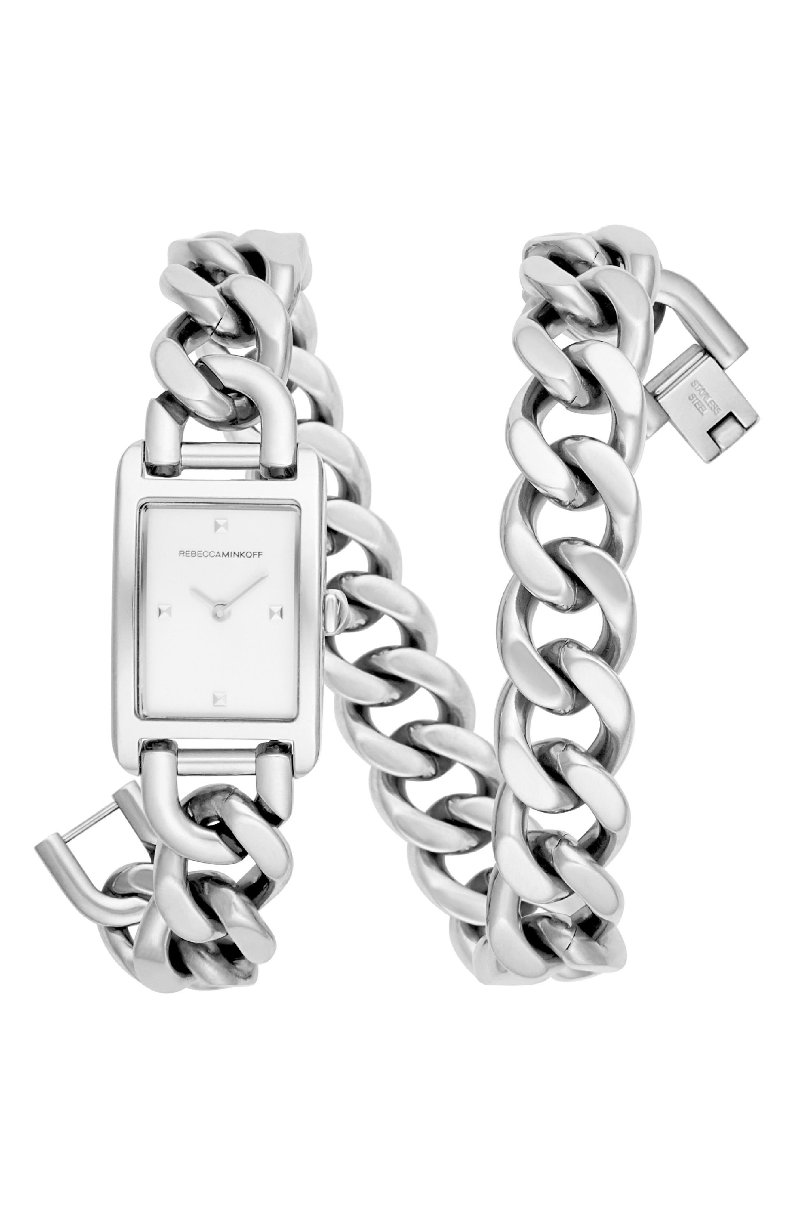 REBECCA MINKOFF,                             Moment Chain Wrap Bracelet Watch, 19mm x 30mm,                             Main thumbnail 1, color,                             SILVER