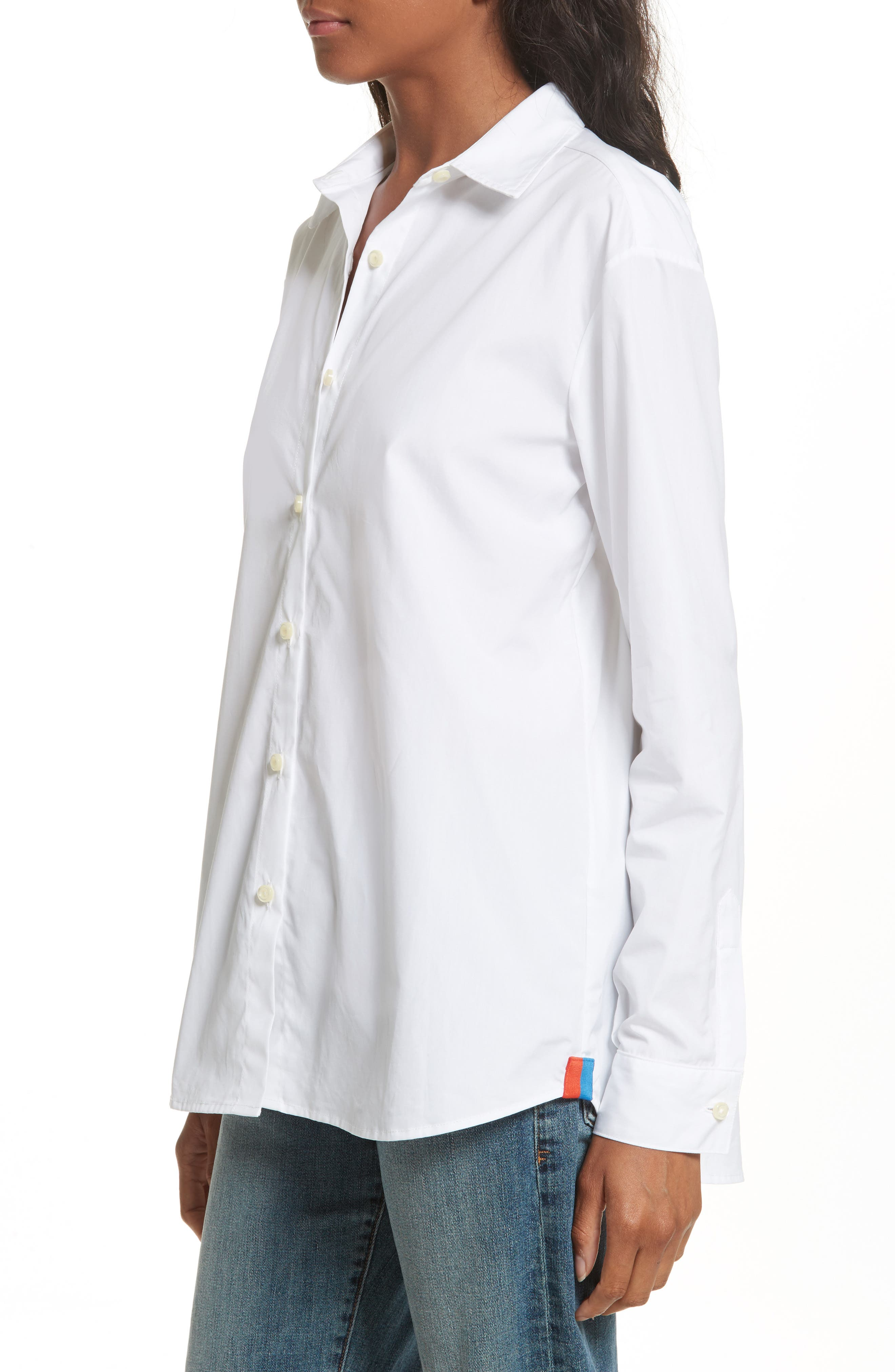 The Hutton Cotton Poplin Shirt,                             Alternate thumbnail 4, color,                             WHITE