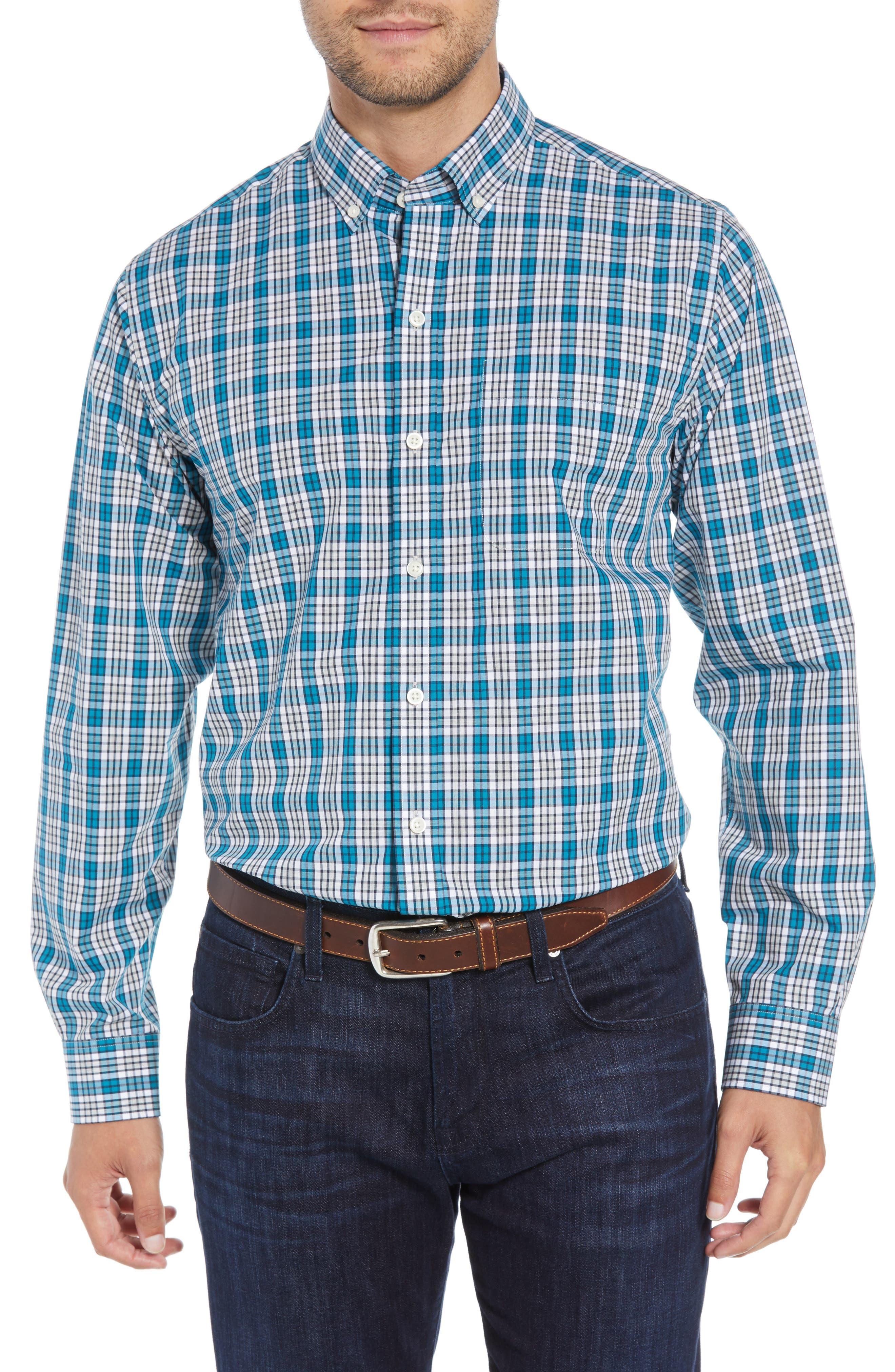 Harris Regular Fit Non-Iron Plaid Sport Shirt,                         Main,                         color, AQUATIC