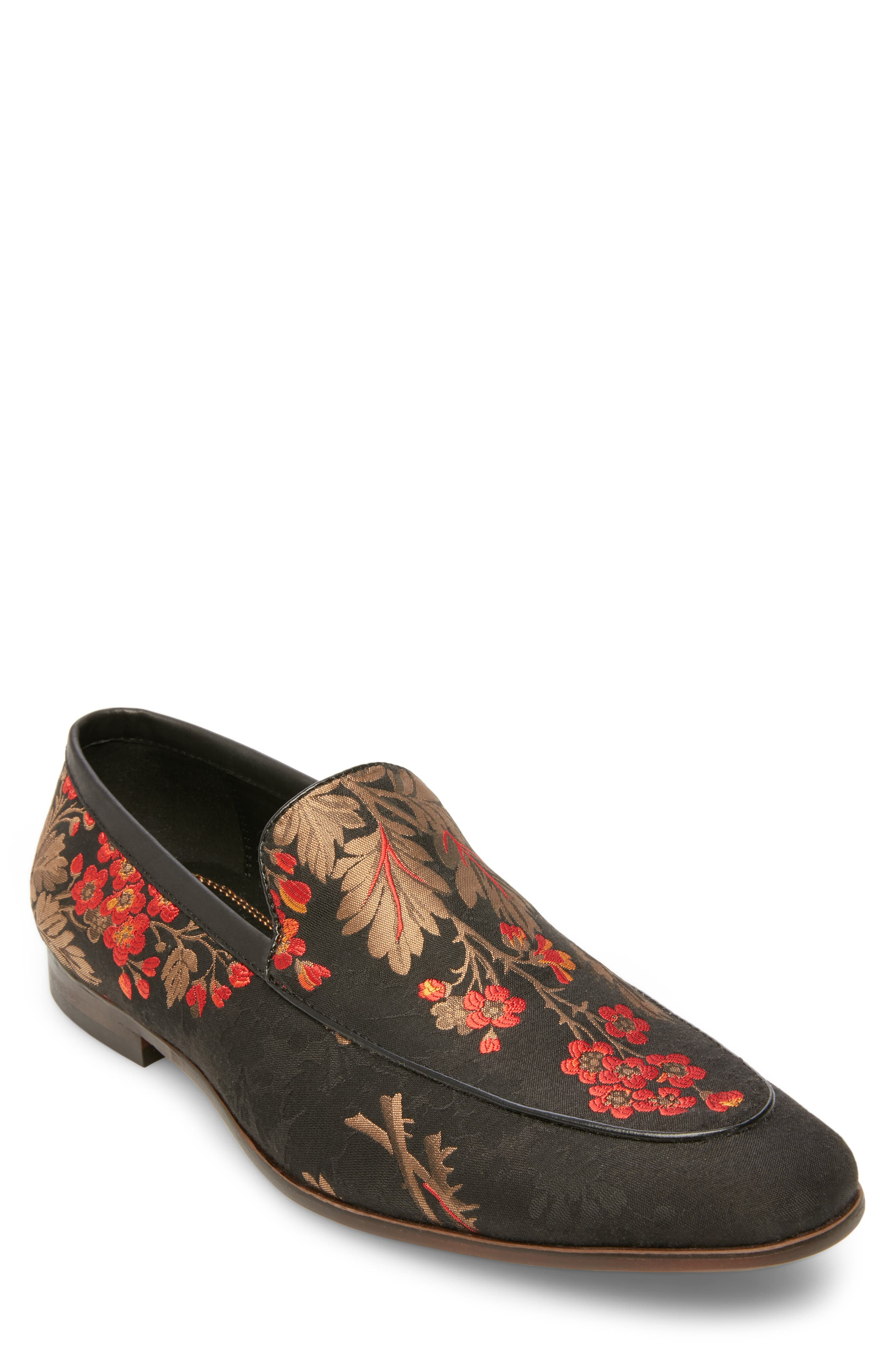 Duplex Apron Toe Venetian Loafer,                         Main,                         color, BLACK/ RED