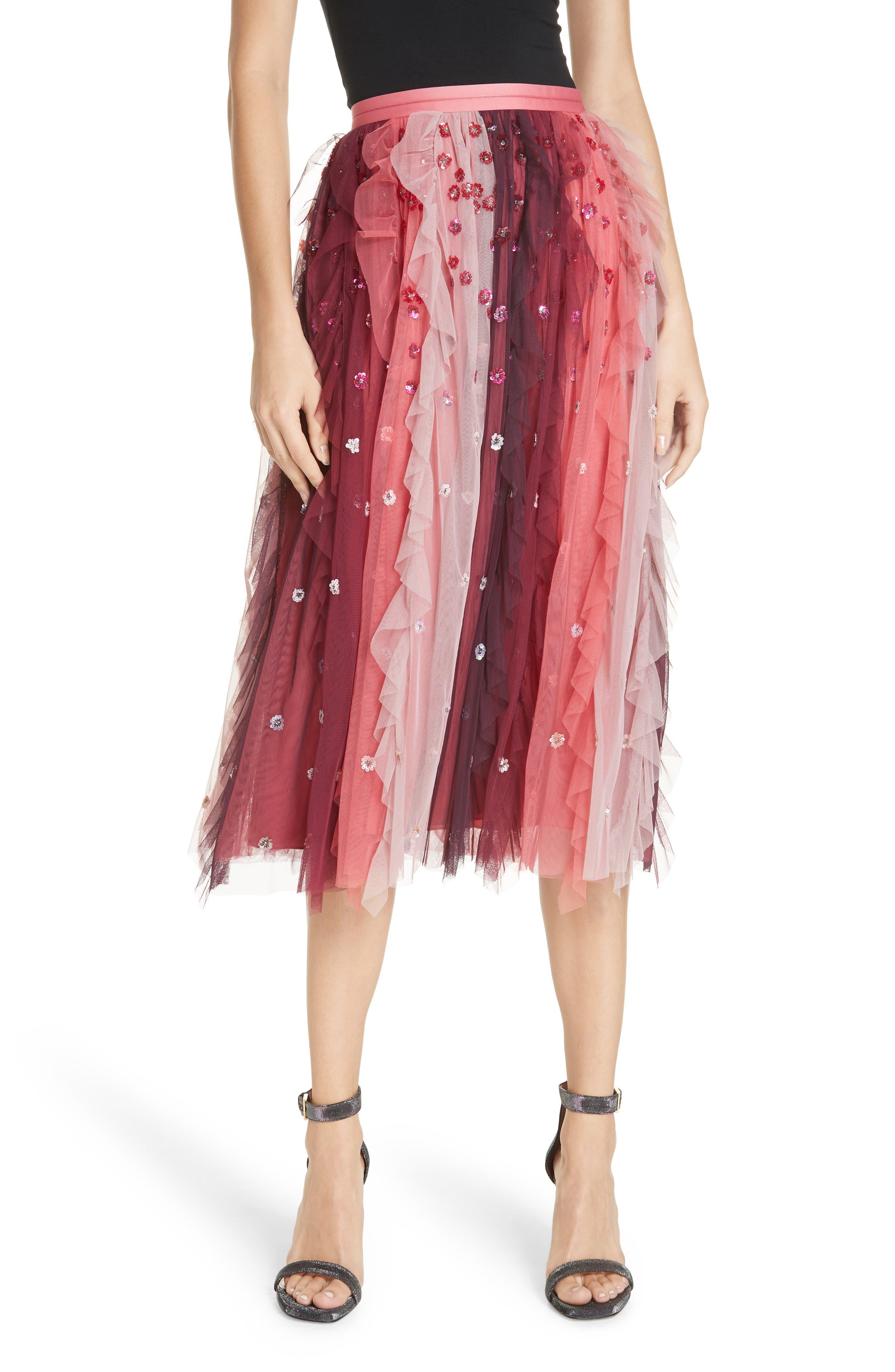 Rainbow Midi Skirt,                         Main,                         color, CHERRY