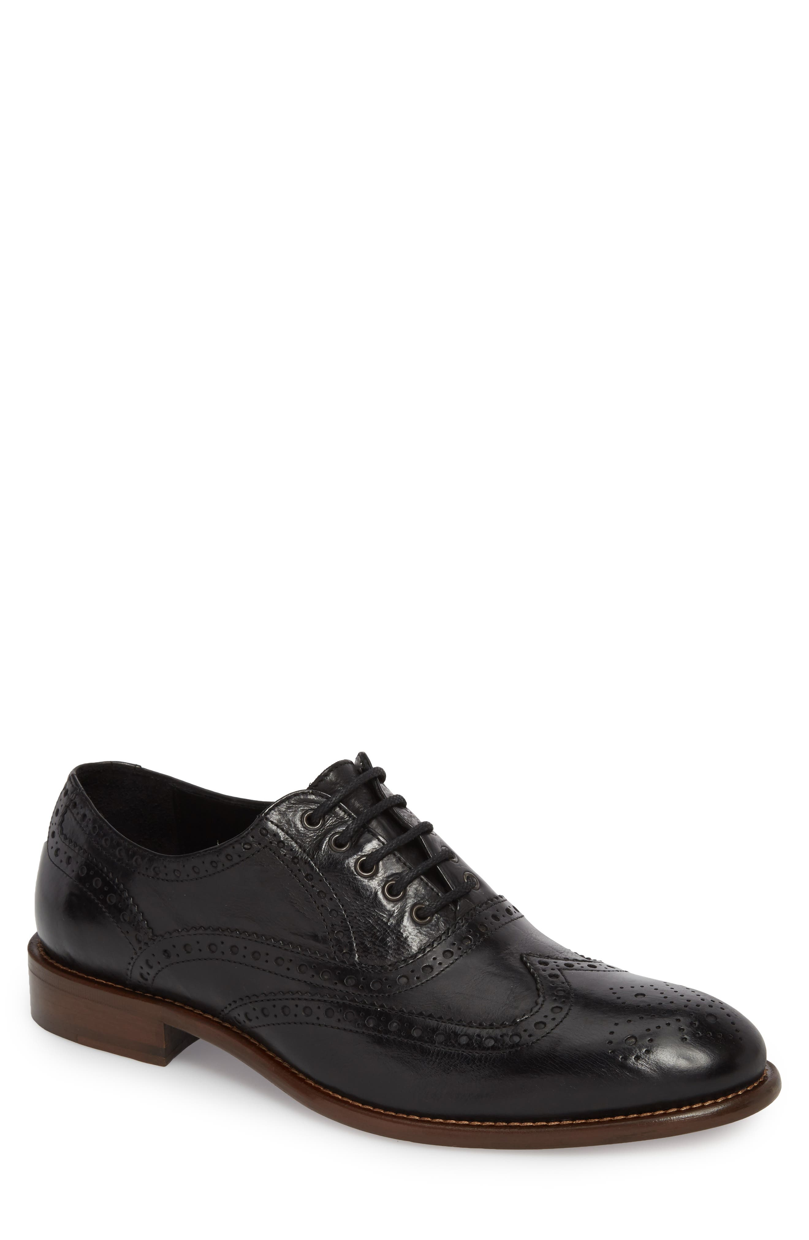 Bryson Wingtip Oxford,                             Main thumbnail 1, color,                             BLACK LEATHER