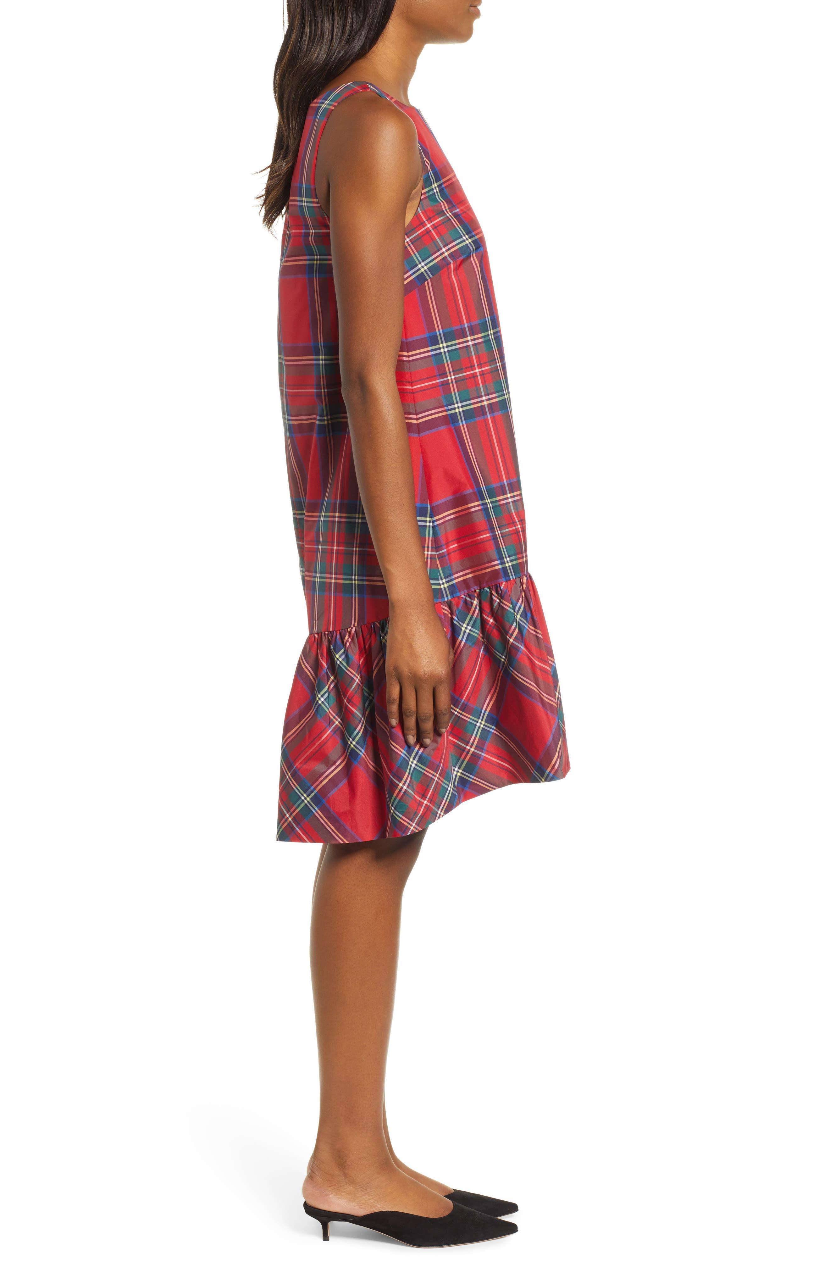 Amelia Jolly Plaid Swing Dress,                             Alternate thumbnail 3, color,                             CALYPSO RED