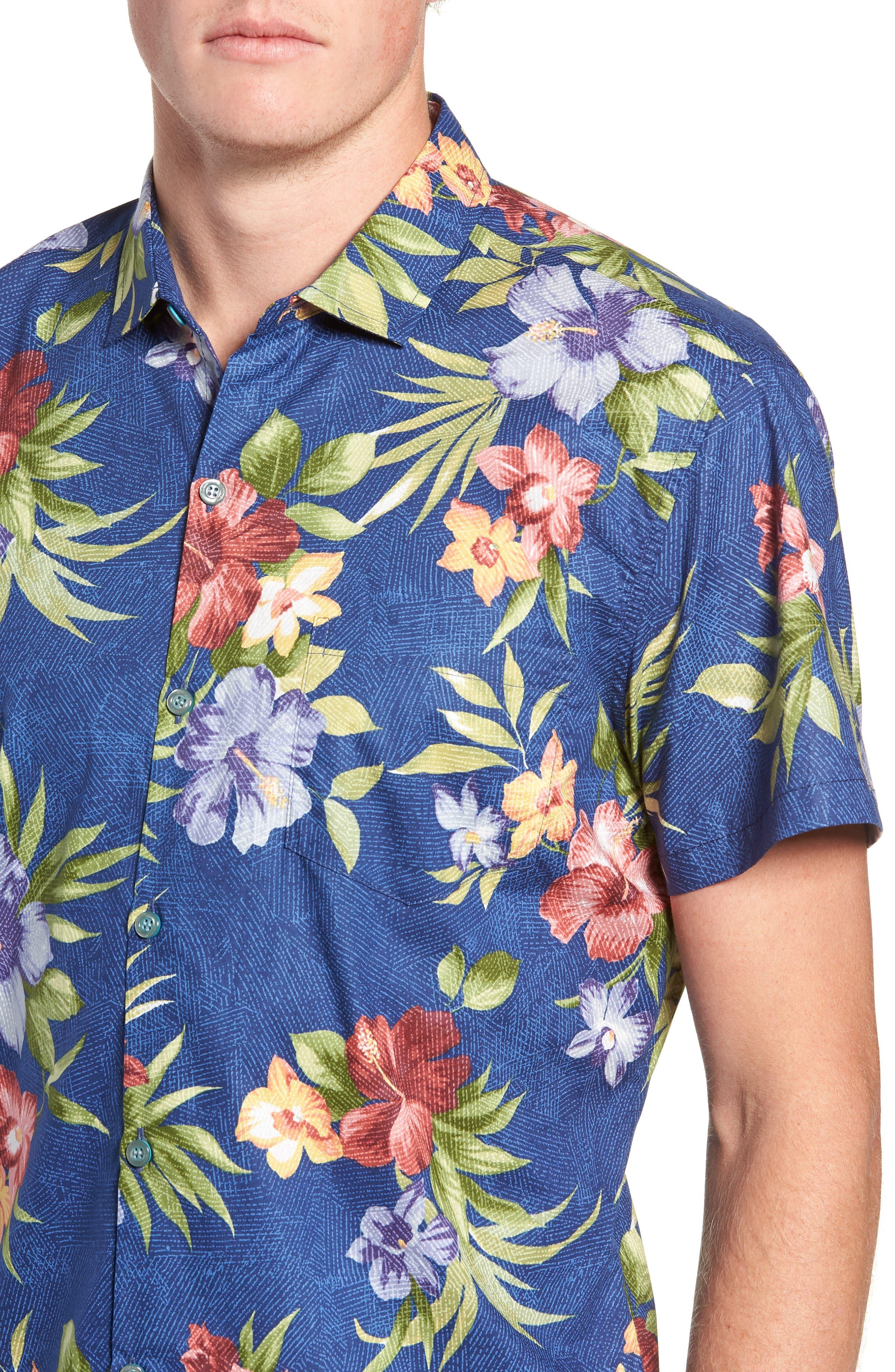 TORI RICHARD,                             Tropical Filter Trim Fit Camp Shirt,                             Alternate thumbnail 4, color,                             415