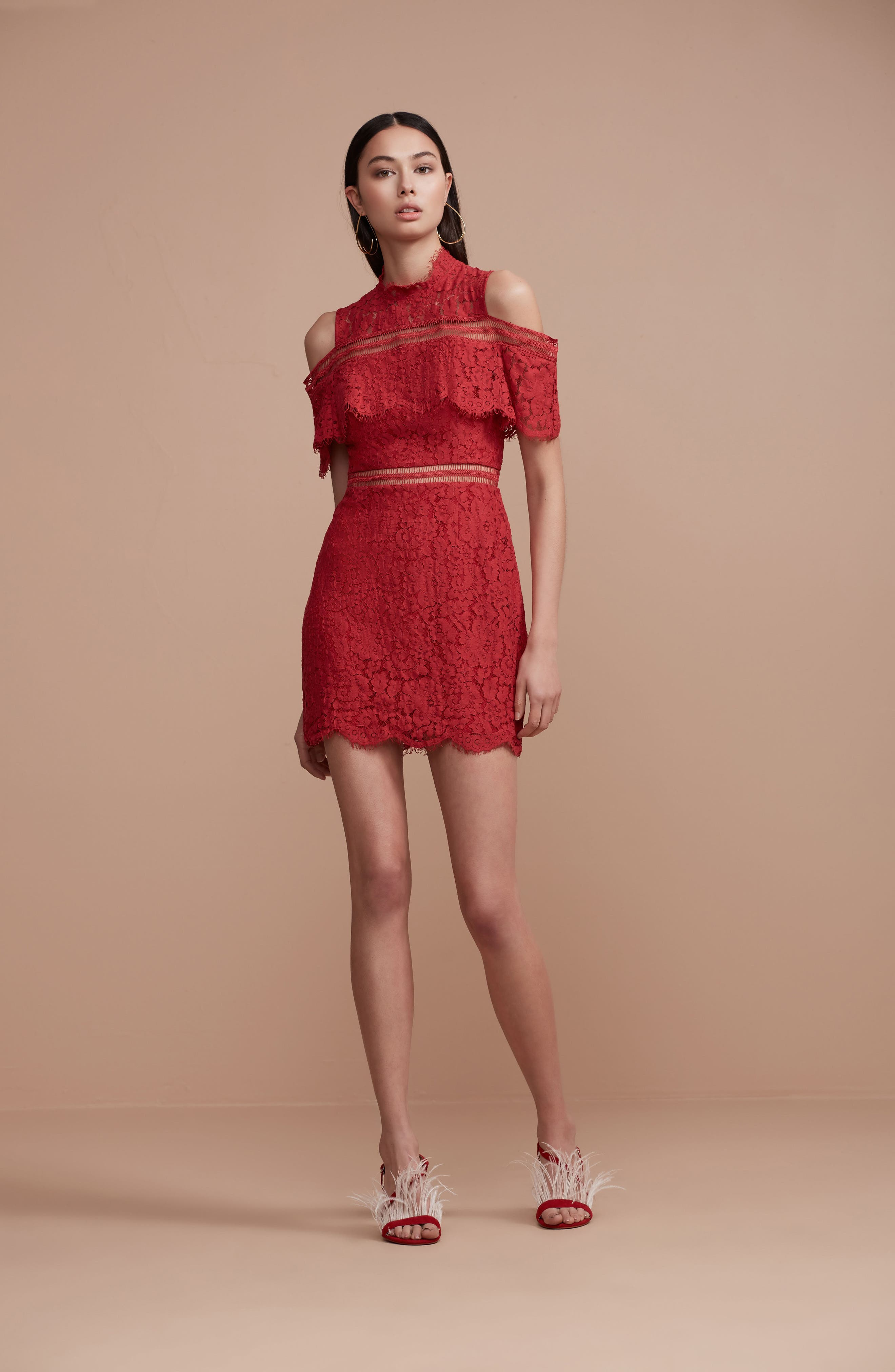 Butterfly Lace Cold Shoulder Dress,                             Alternate thumbnail 7, color,                             623