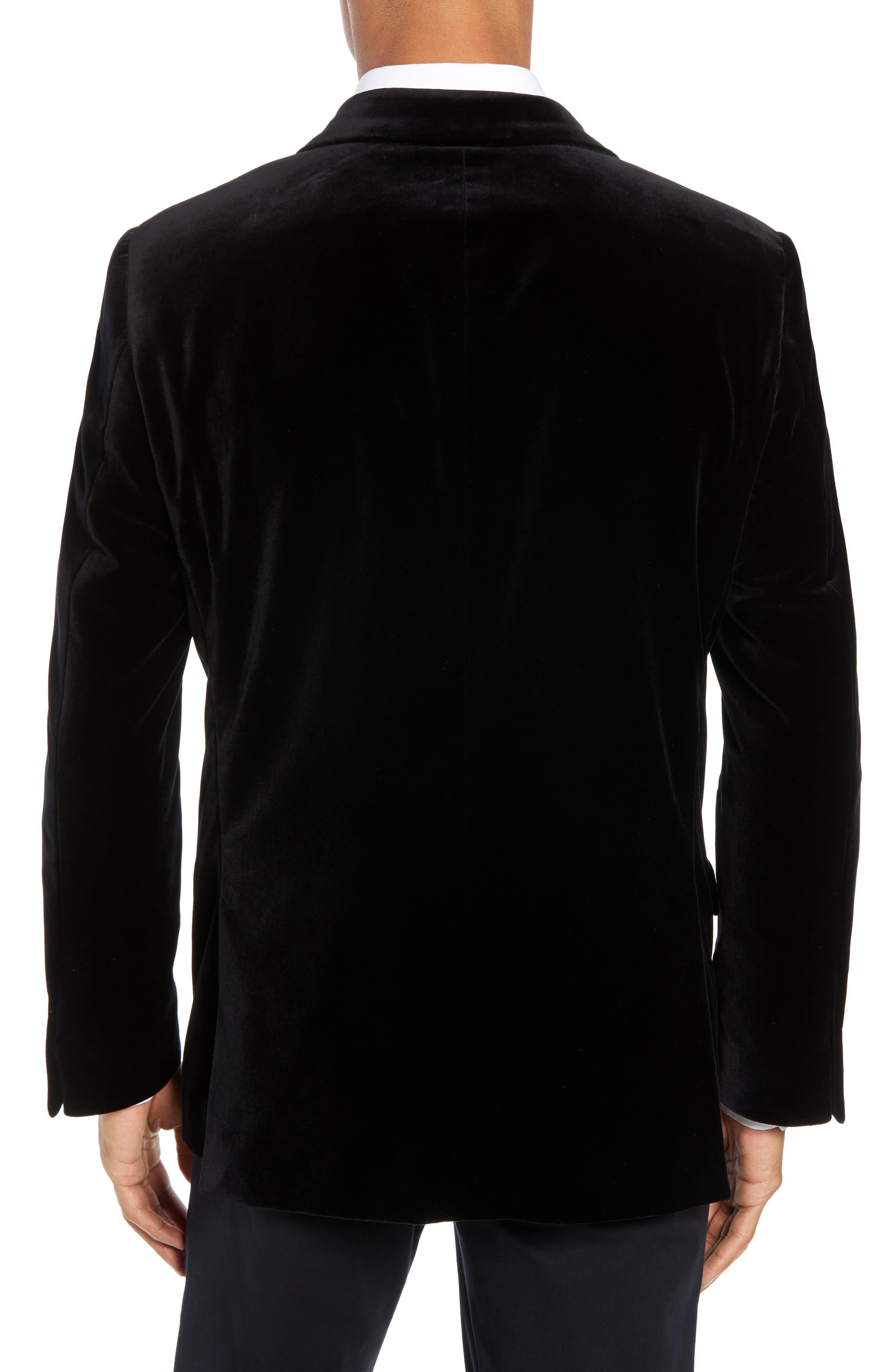 Classic Fit Stretch Cotton Velvet Dinner Jacket,                             Alternate thumbnail 2, color,                             BLACK