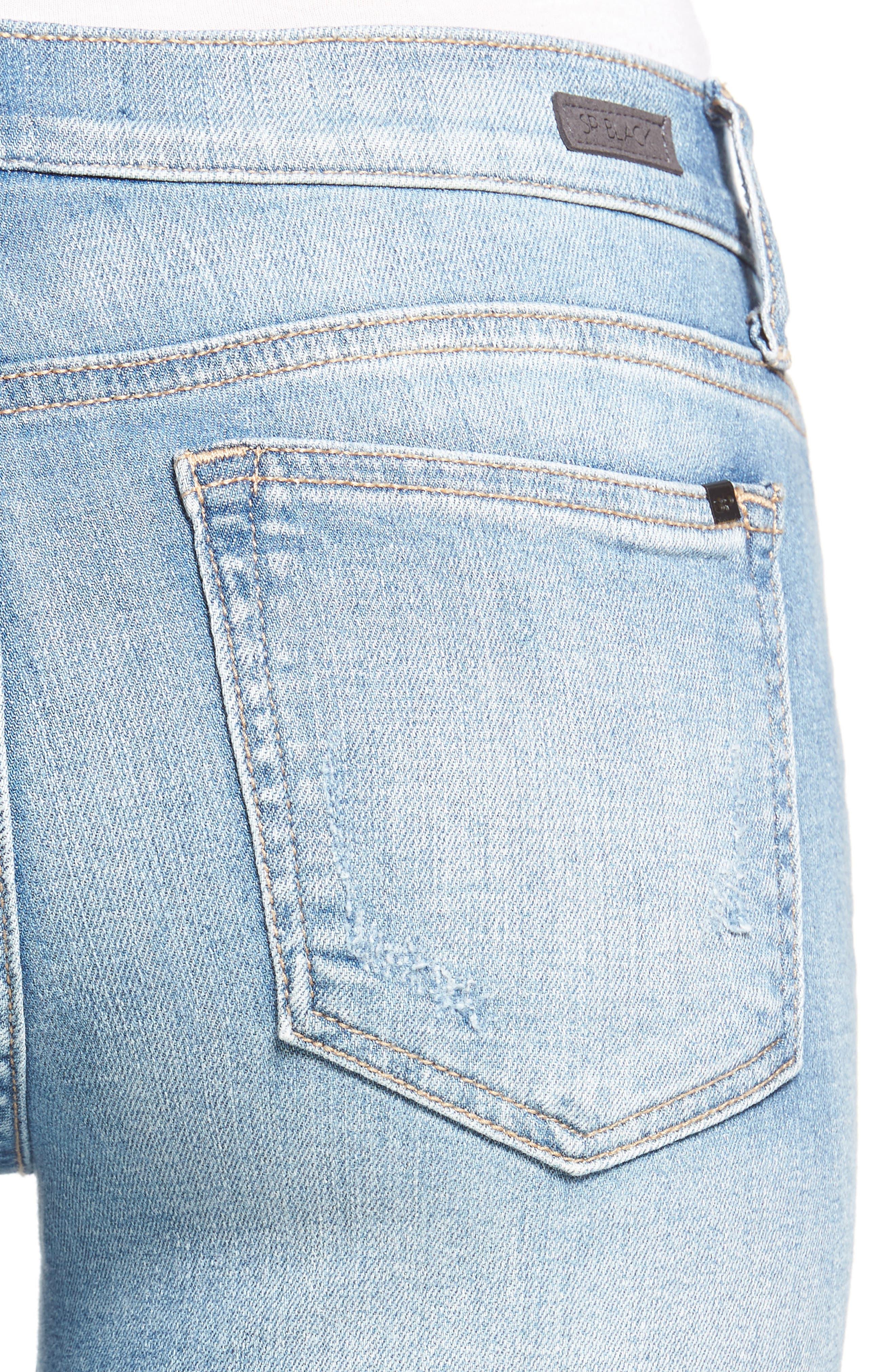 Ripped Knee Skinny Jeans,                             Alternate thumbnail 4, color,                             MEDIUM LIGHT
