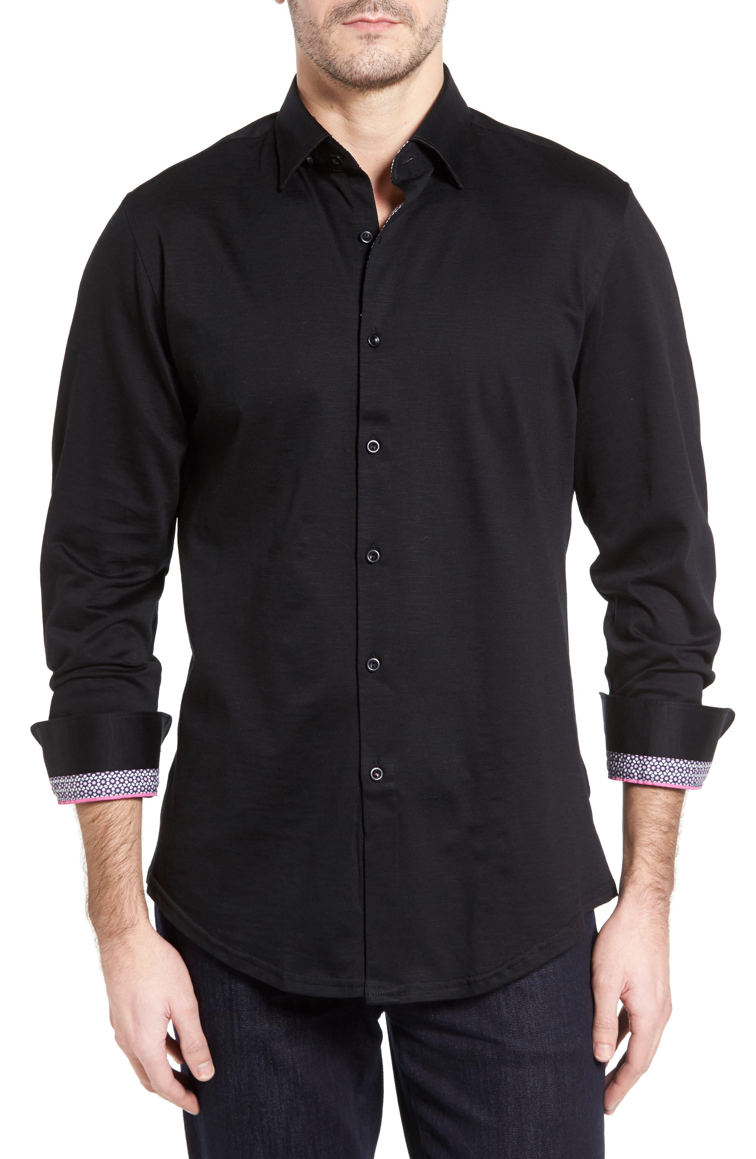 Flamé Knit Sport Shirt,                         Main,                         color, 001