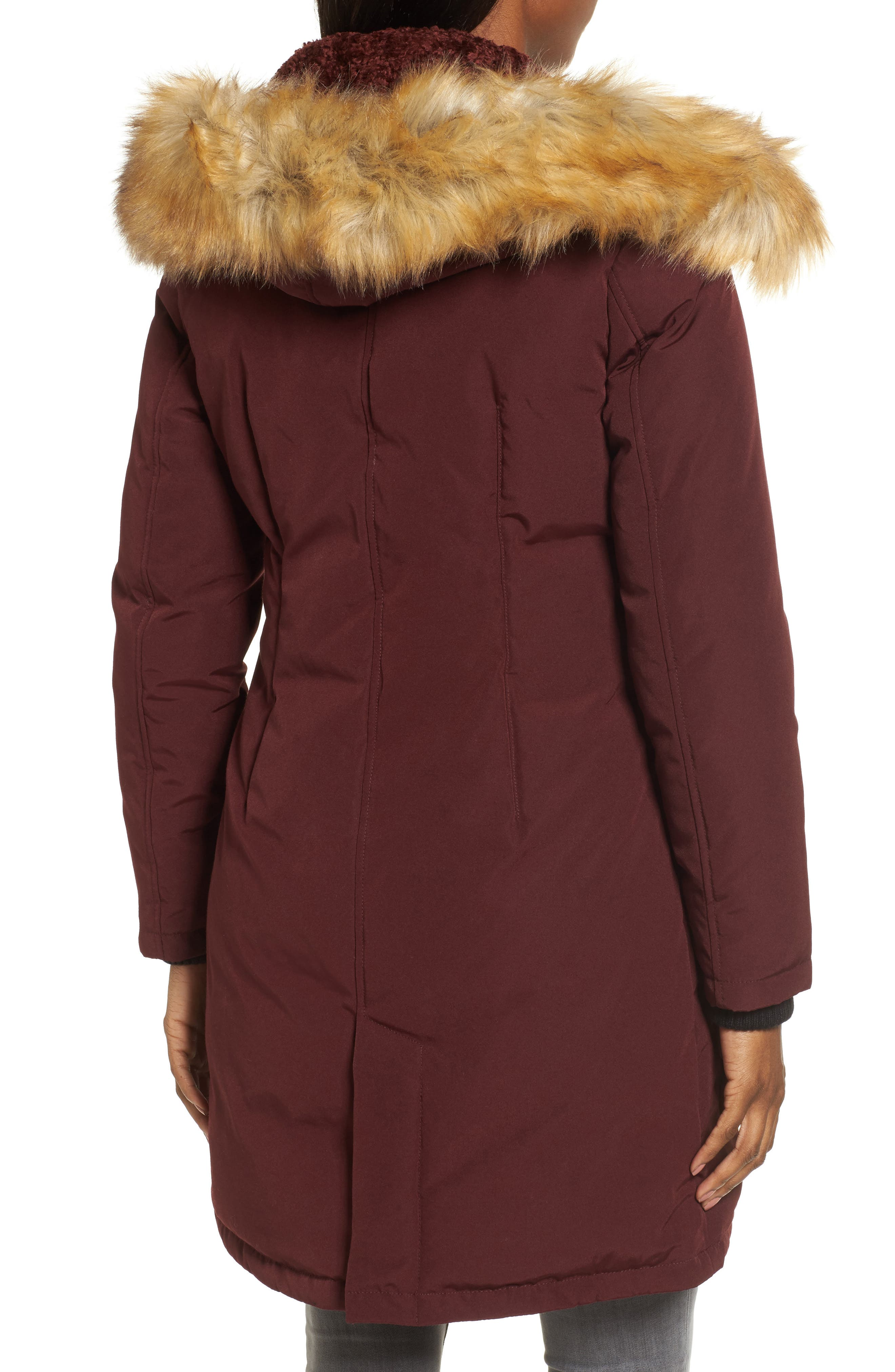 Down & Feather Fill Parka with Faux Fur Trim,                             Alternate thumbnail 9, color,