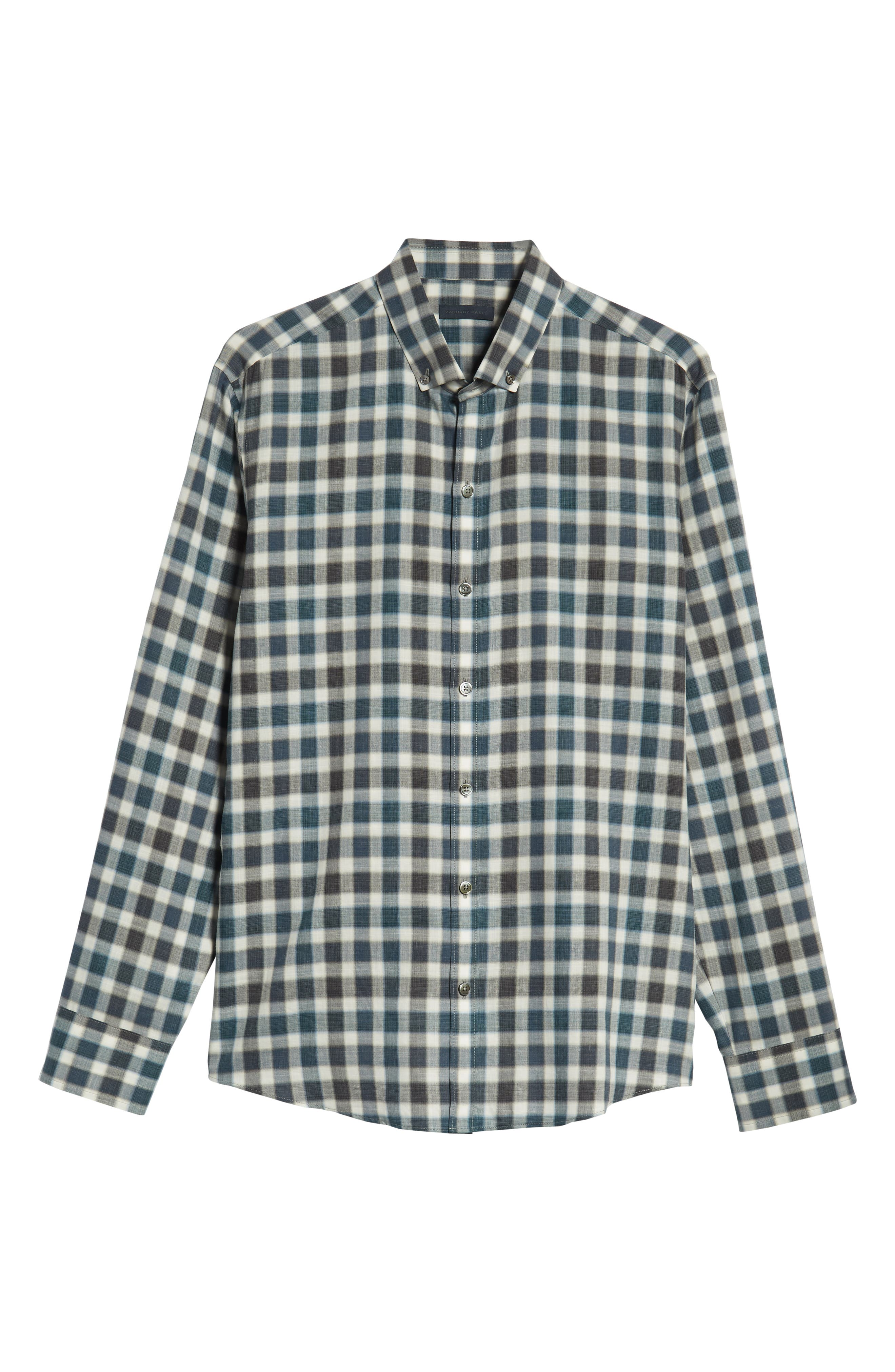 Buffa Plaid Flannel Sport Shirt,                             Alternate thumbnail 5, color,                             DARK TEAL