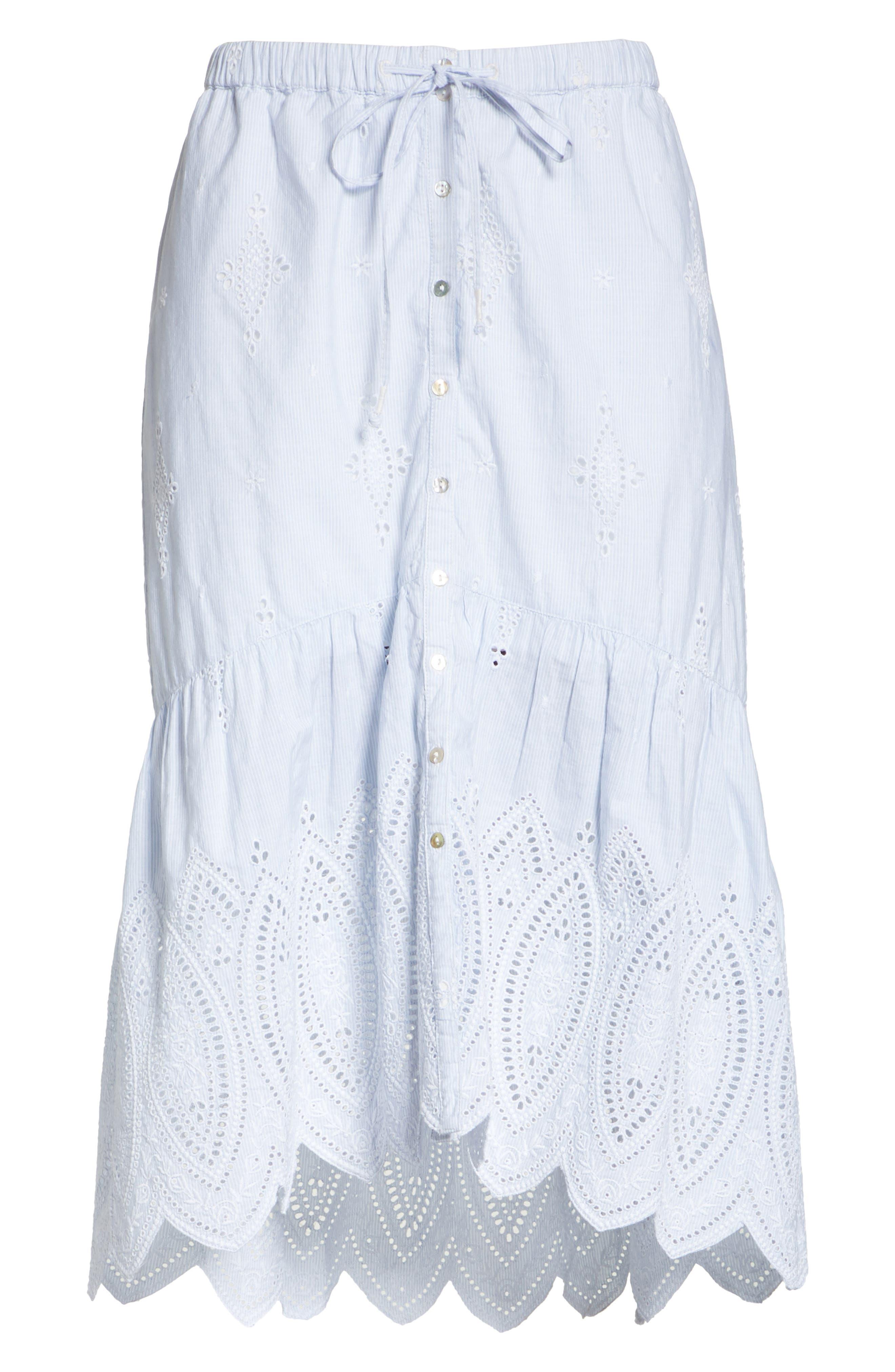 Chantoya Eyelet Scallop Hem Cotton Skirt,                             Alternate thumbnail 6, color,                             100