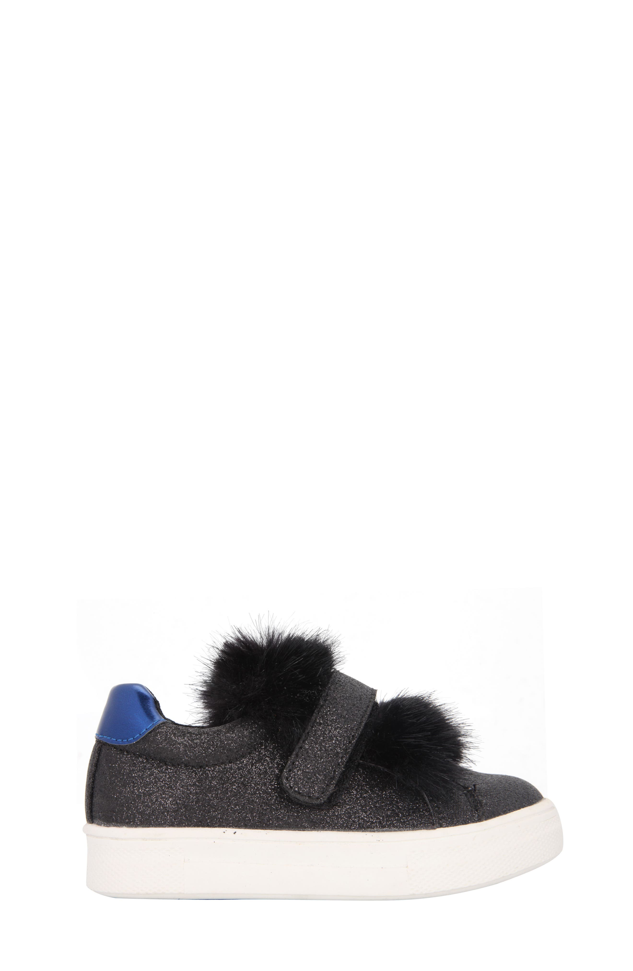 Sunshine Glittery Faux Fur Sneaker,                             Alternate thumbnail 3, color,                             008