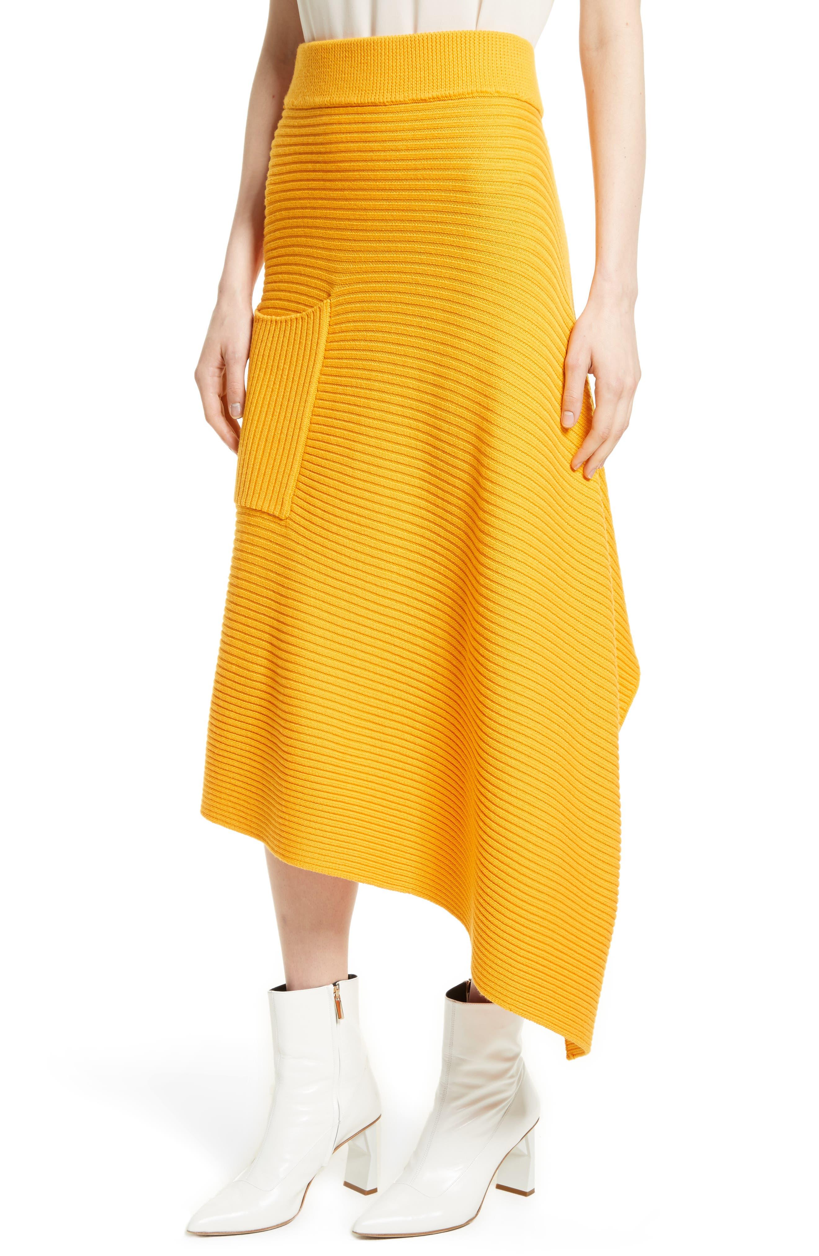 Asymmetrical Rib Merino Wool Skirt,                             Alternate thumbnail 8, color,