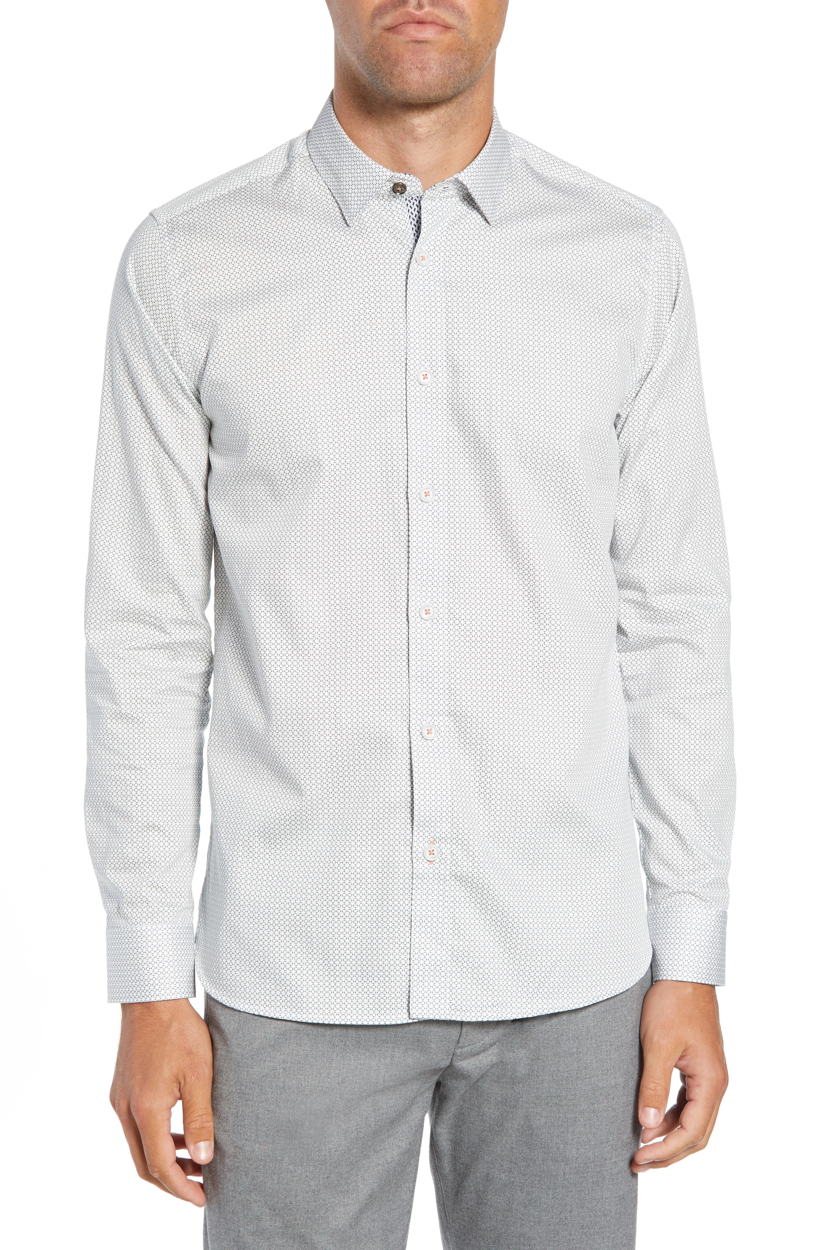 TED BAKER Jenkins Geometric Print Regular Fit Button-Down Shirt in White