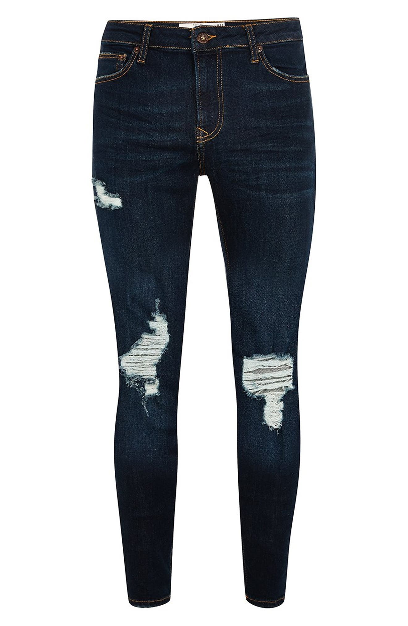 Skinny Fit Ripped Spray-On Jeans,                             Alternate thumbnail 5, color,                             BLUE
