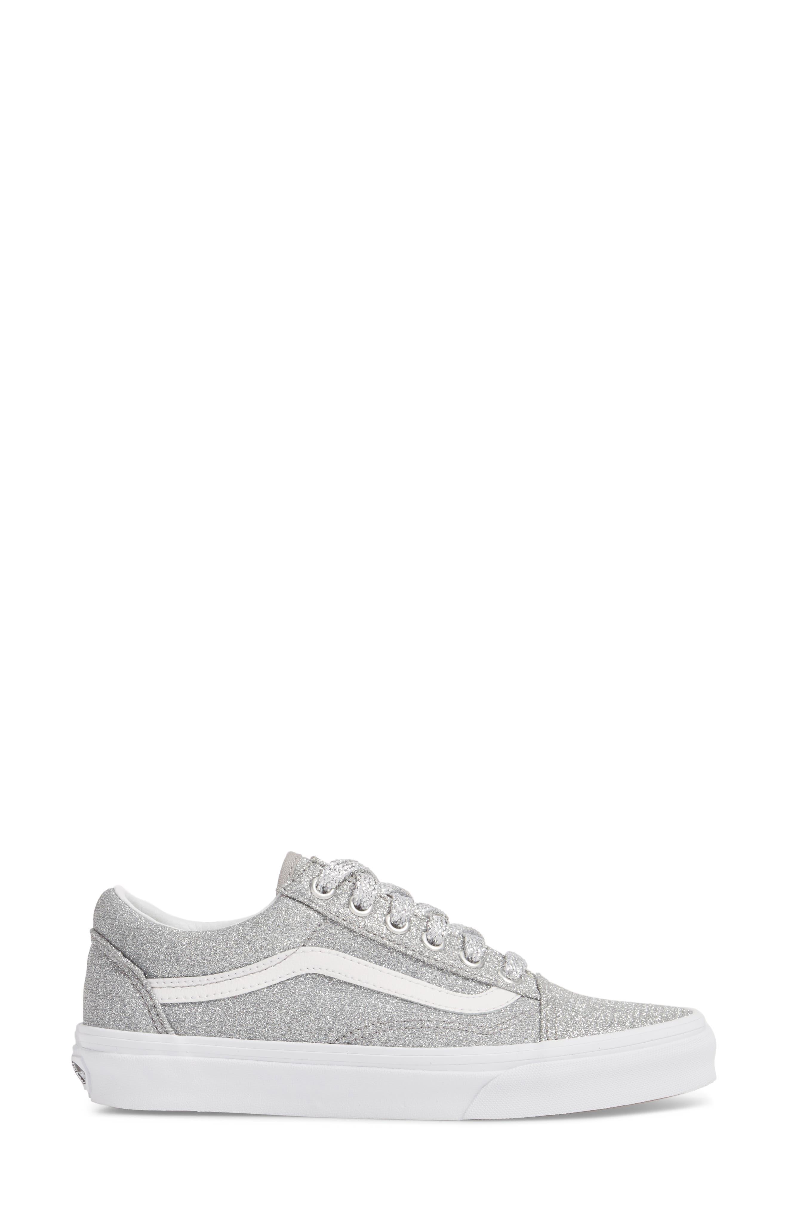 UA Old Skool Glitter Low Top Sneaker,                             Alternate thumbnail 3, color,                             SILVER/ TRUE WHITE GLITTER