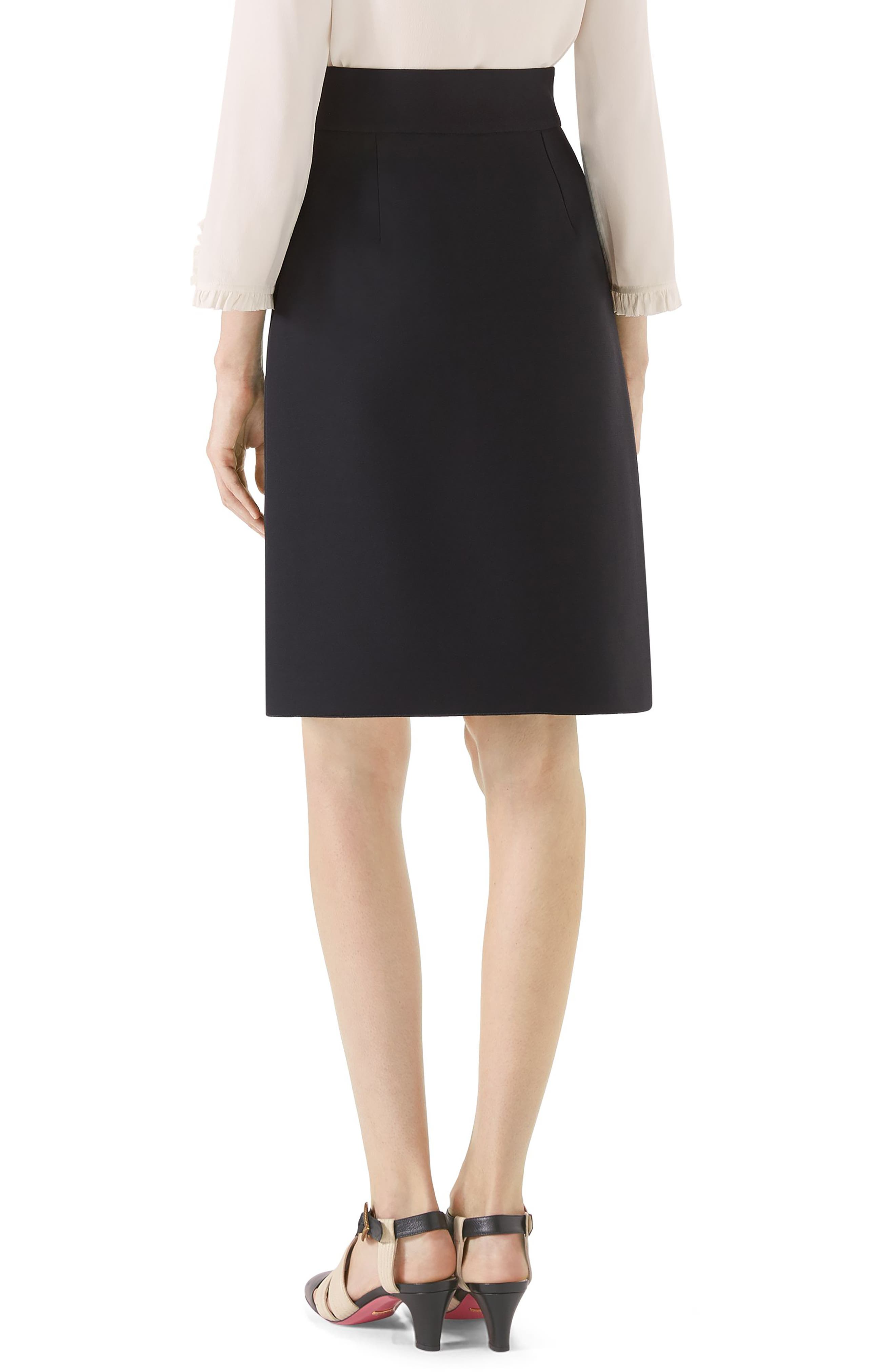 Marmont Wool & Silk Cady Crepe A-Line Skirt,                             Alternate thumbnail 2, color,                             BLACK