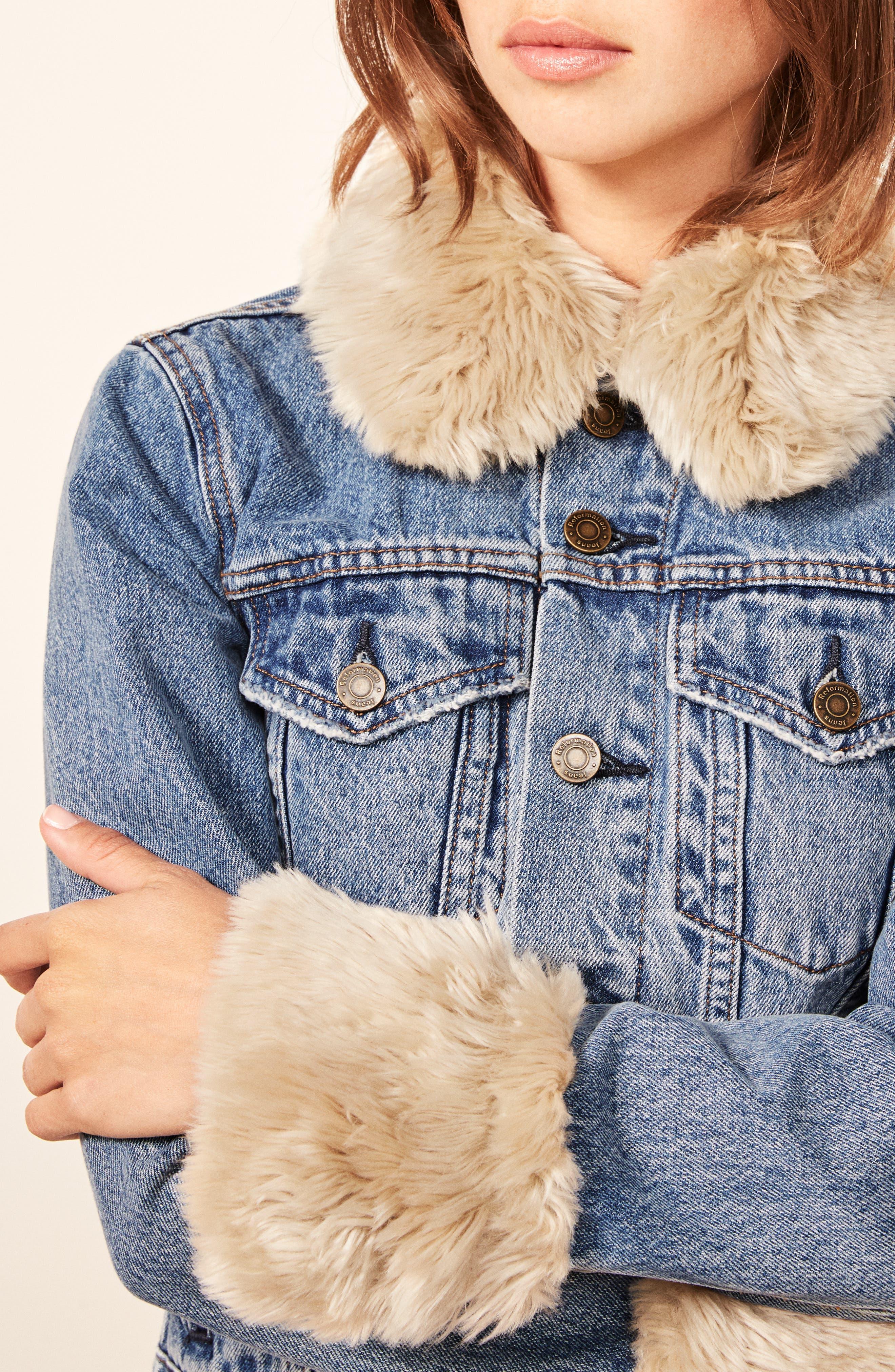 Aussie Faux Fur Trim Denim Jacket,                             Alternate thumbnail 4, color,                             400