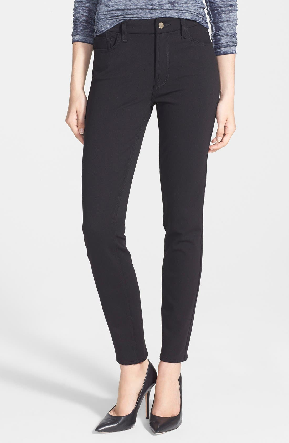 Five Pocket Skinny Ponte Pants,                             Main thumbnail 1, color,                             BLACK