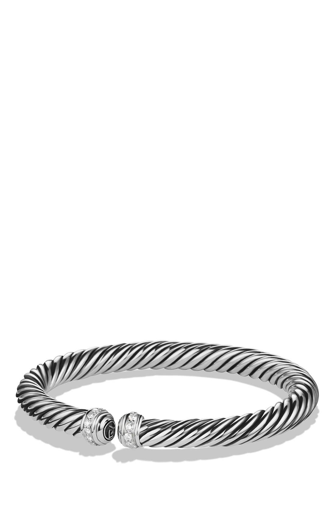 Cable Spira Bracelet with Diamonds, 7mm,                             Main thumbnail 1, color,                             DIAMOND