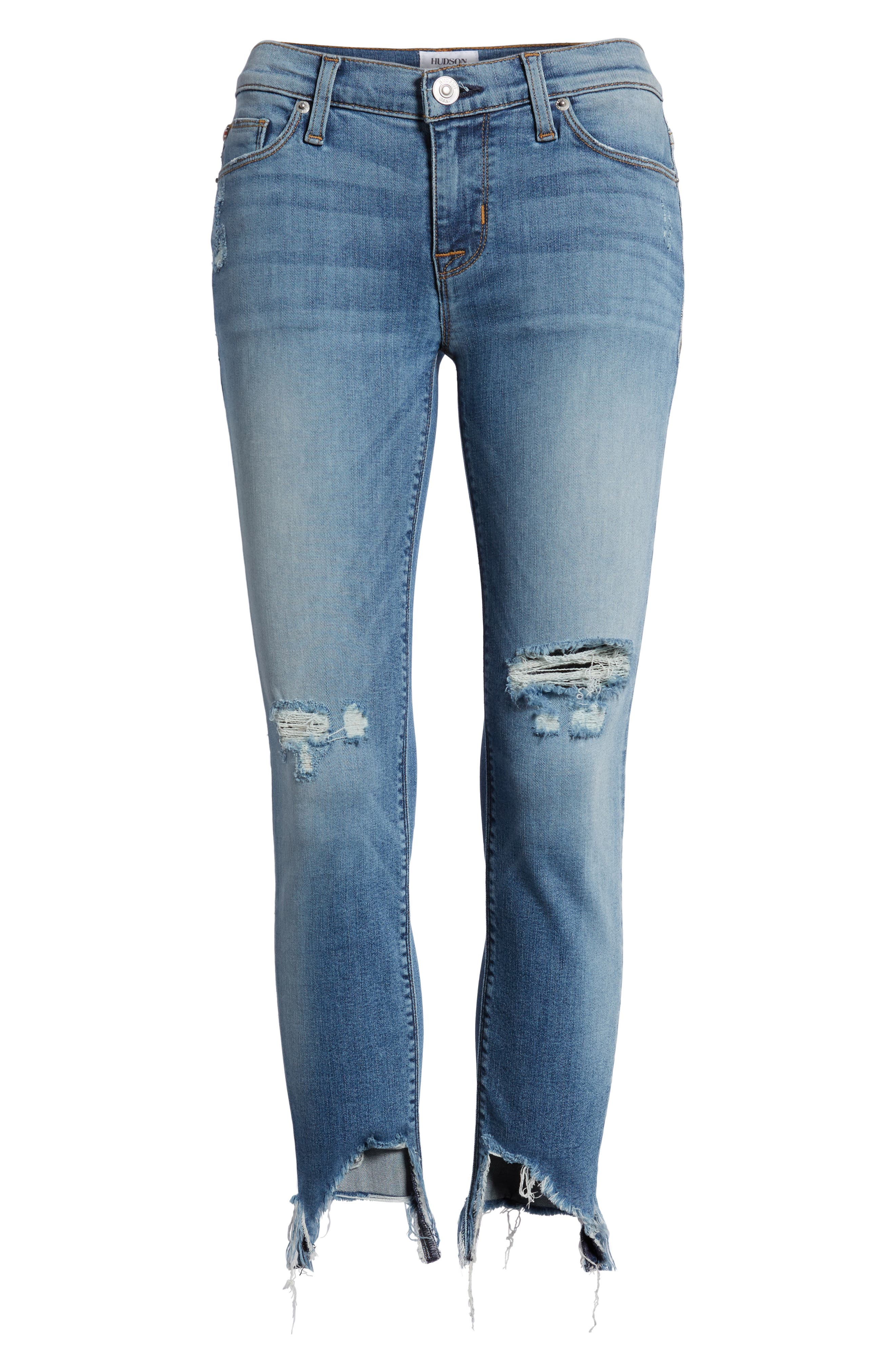 Tally Ripped Crop Skinny Jeans,                             Alternate thumbnail 7, color,                             COUNTDOWN