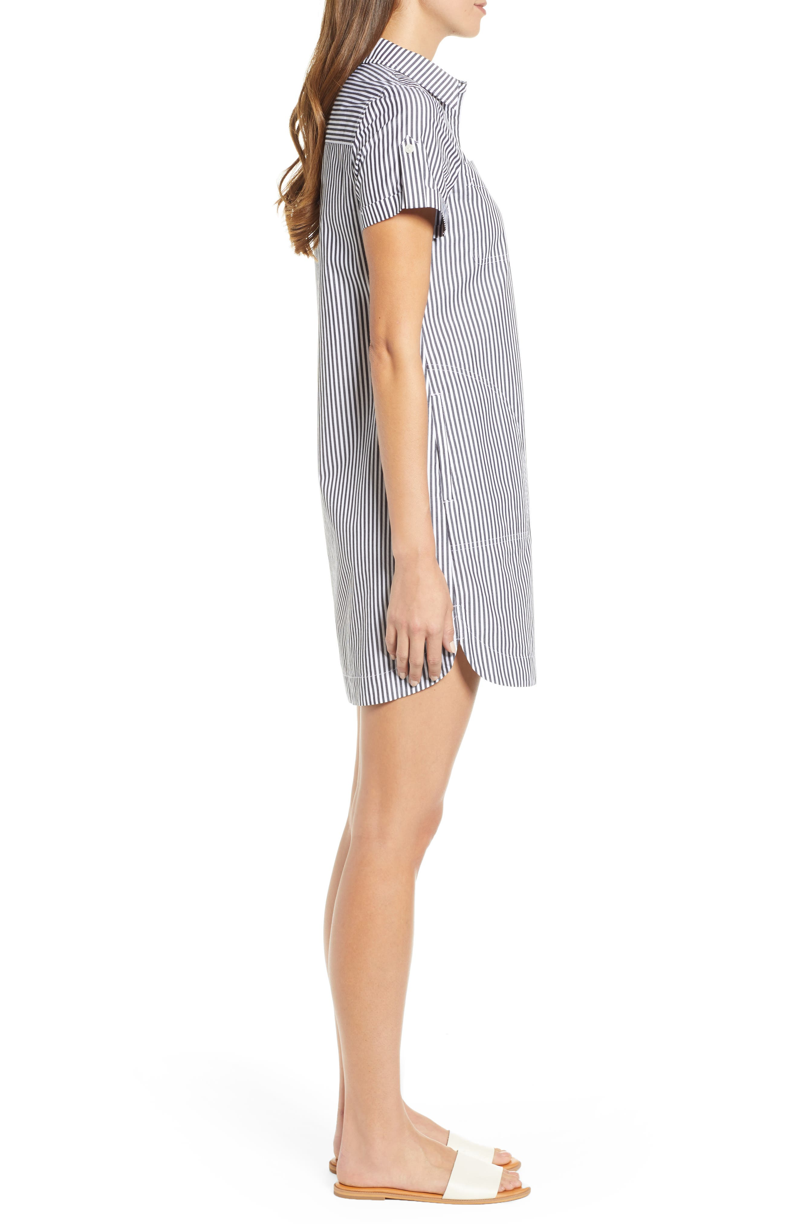 Stripe Utility Shirtdress,                             Alternate thumbnail 3, color,                             002