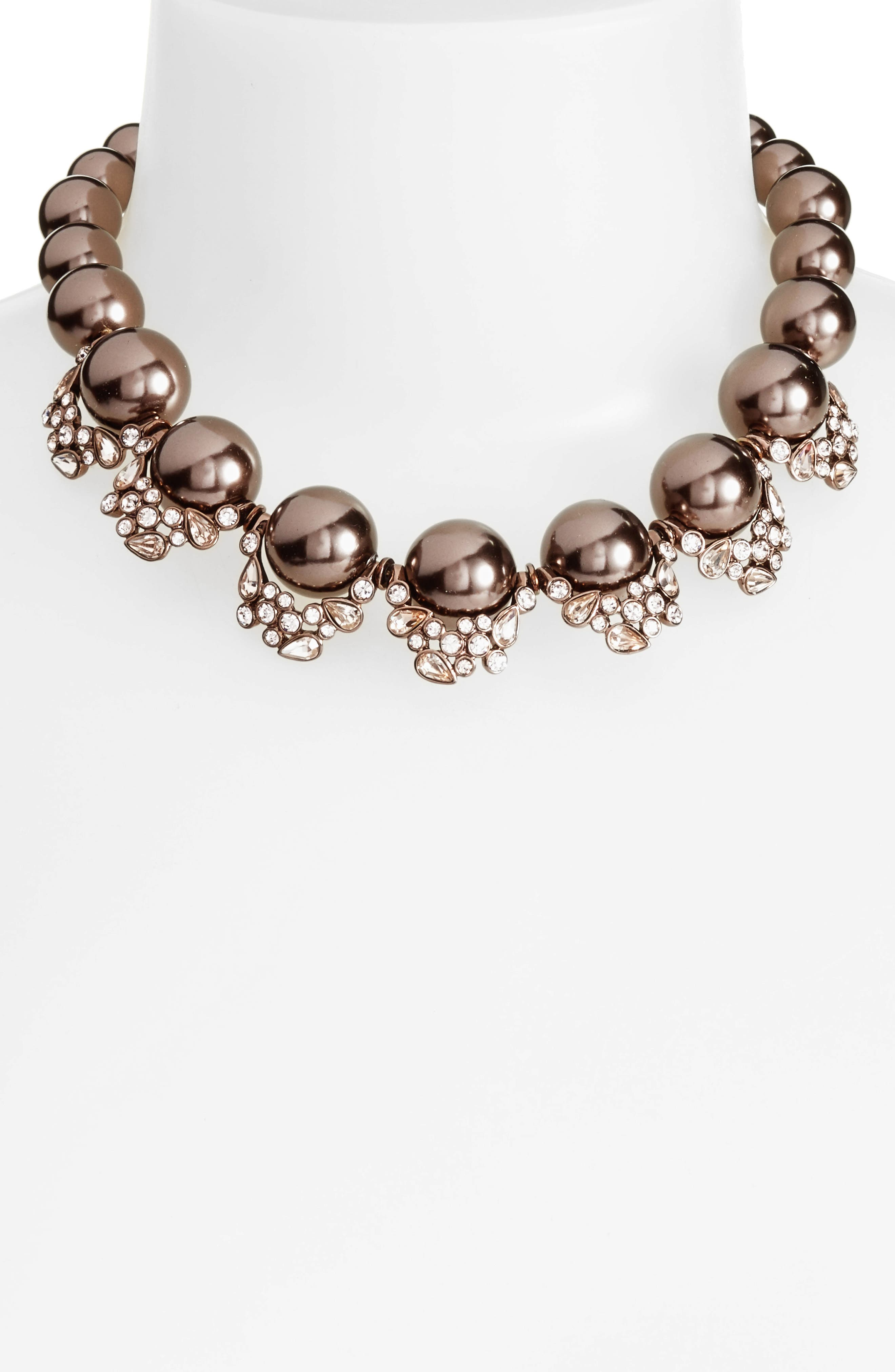Imitation Pearl & Crystal Collar Necklace,                             Alternate thumbnail 2, color,                             200